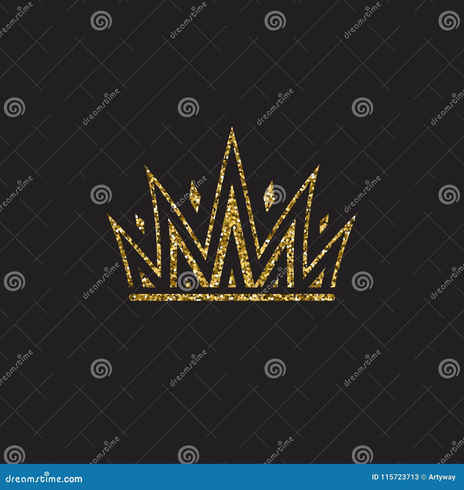 Corona della regina, copricapo reale dell oro Accessorio dorato di re Illustrazioni isolate di vettore Simbolo della classe dell