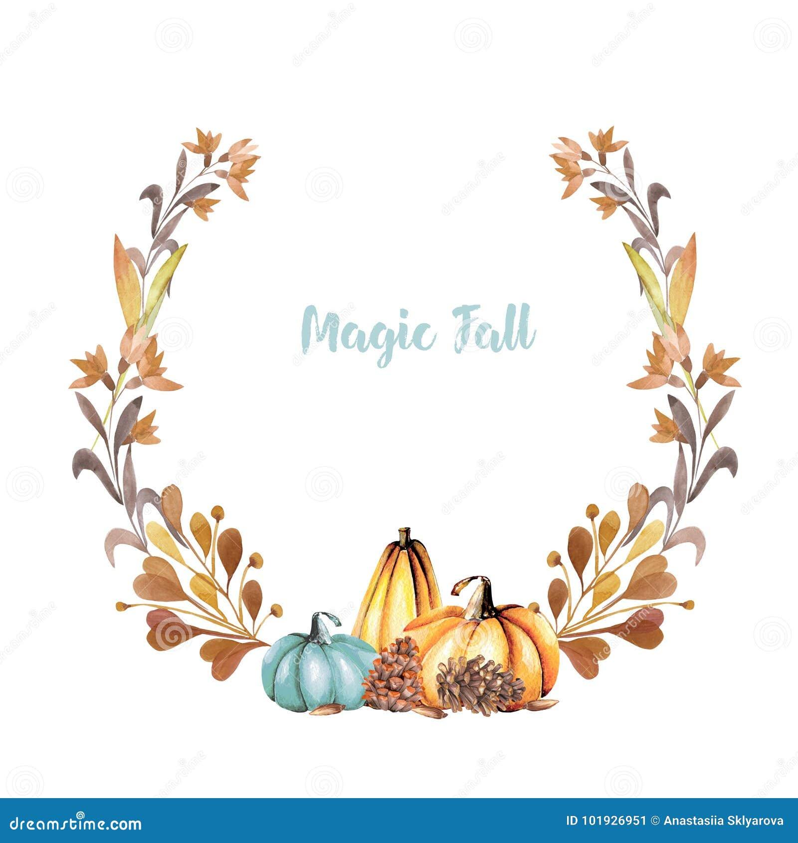 Corona di autunno con le zucche dell acquerello, i fiori di caduta, i rami ed i coni di abete