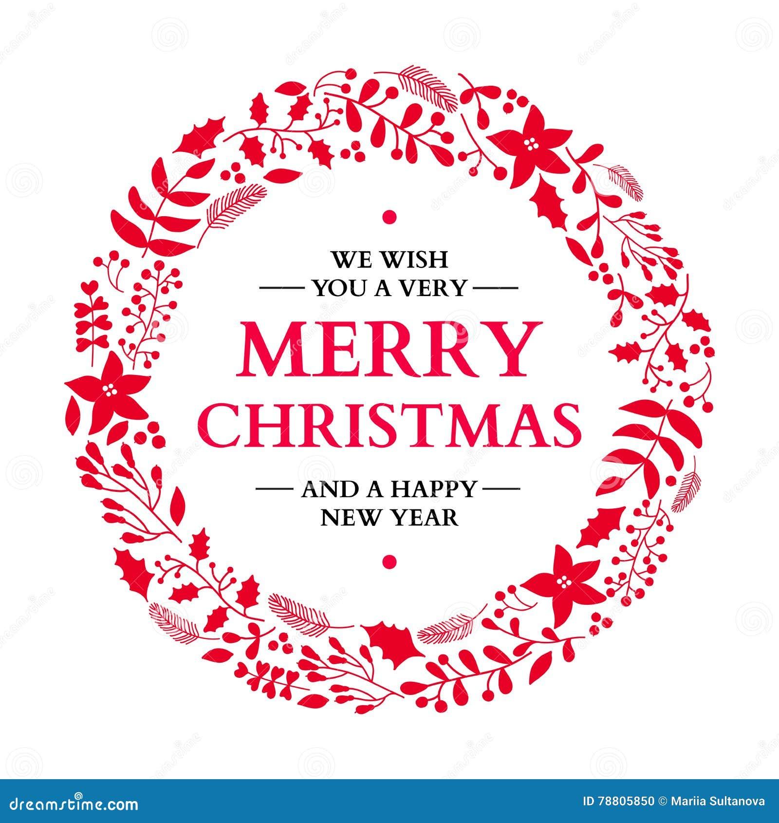 Corona di scarabocchio di Natale con il saluto Scheda di festa di vettore Natale