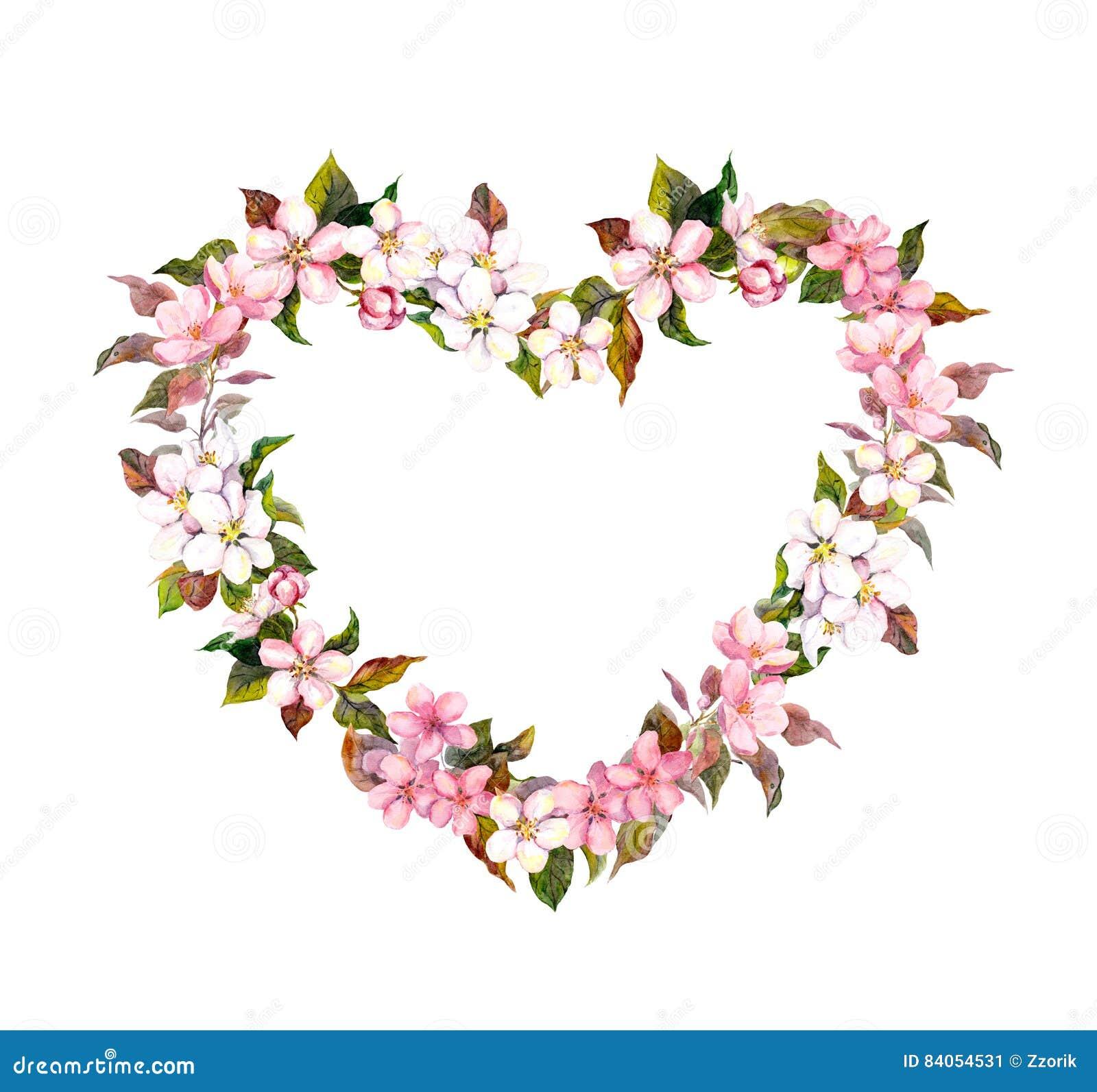Corona floreale - forma del cuore Fiori rosa Acquerello per il giorno di S. Valentino, nozze nello stile d annata di boho
