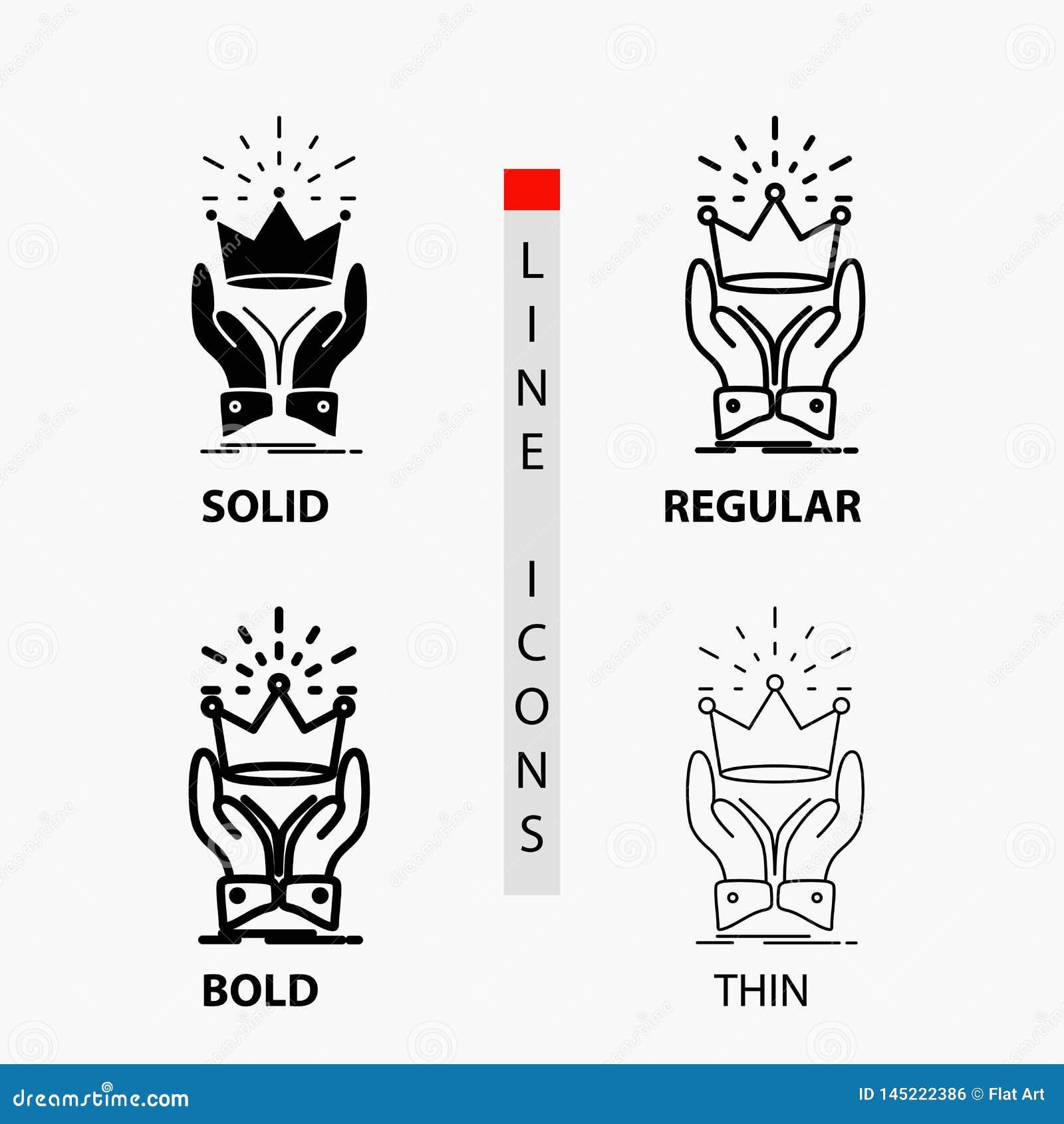 Corona, honor, rey, mercado, icono real en línea y estilo finos, regulares, intrépidos del Glyph Ilustraci?n del vector
