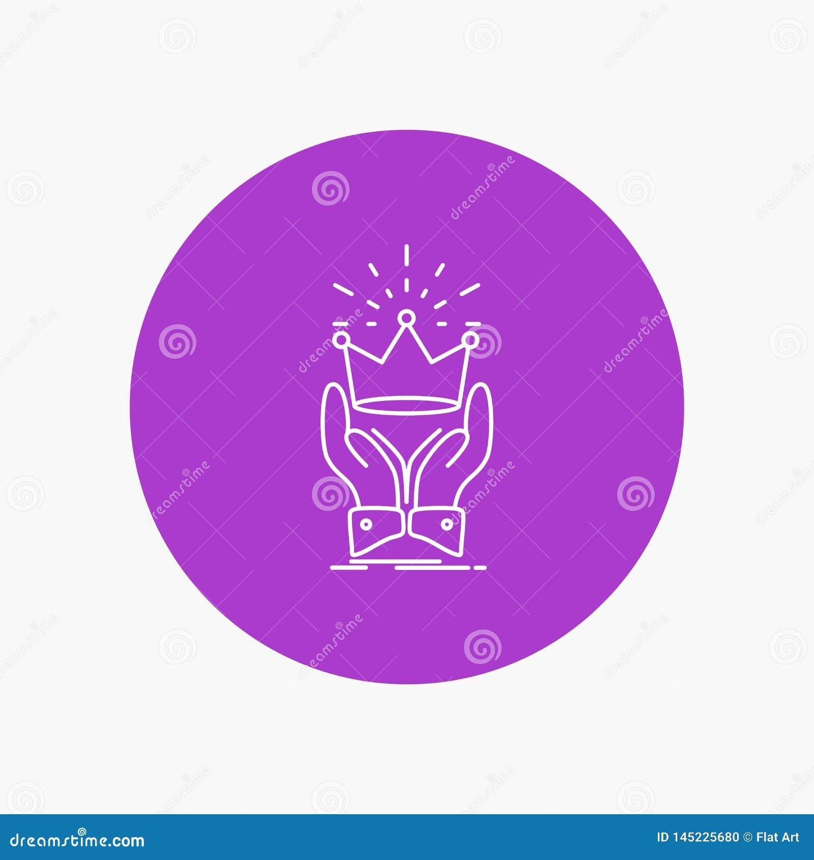 Corona, honor, rey, mercado, línea blanca real icono en fondo del círculo Ejemplo del icono del vector