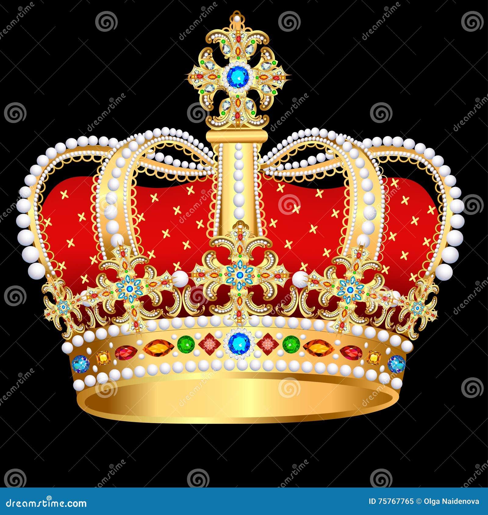 Corona Real Del Oro Con Las Piedras Preciosas Y La Joyería ...