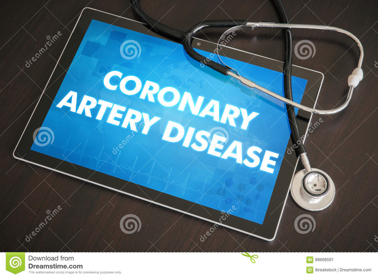 Coronary artery disease (heart disorder) diagnosis medical concept on tablet screen with stethoscope