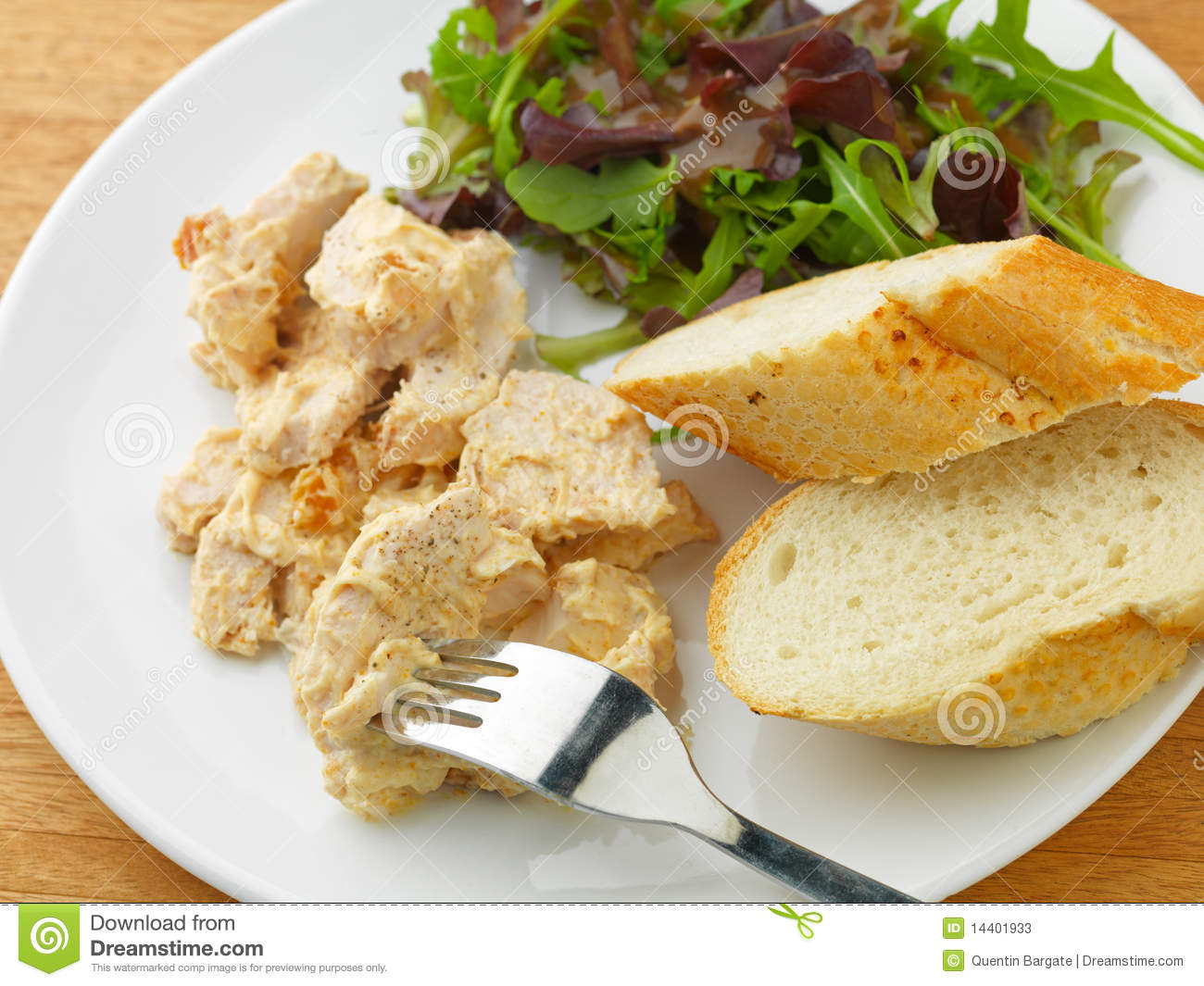 Coronation Chicken With Salad And Bread Stock Photos - Image: 14401933