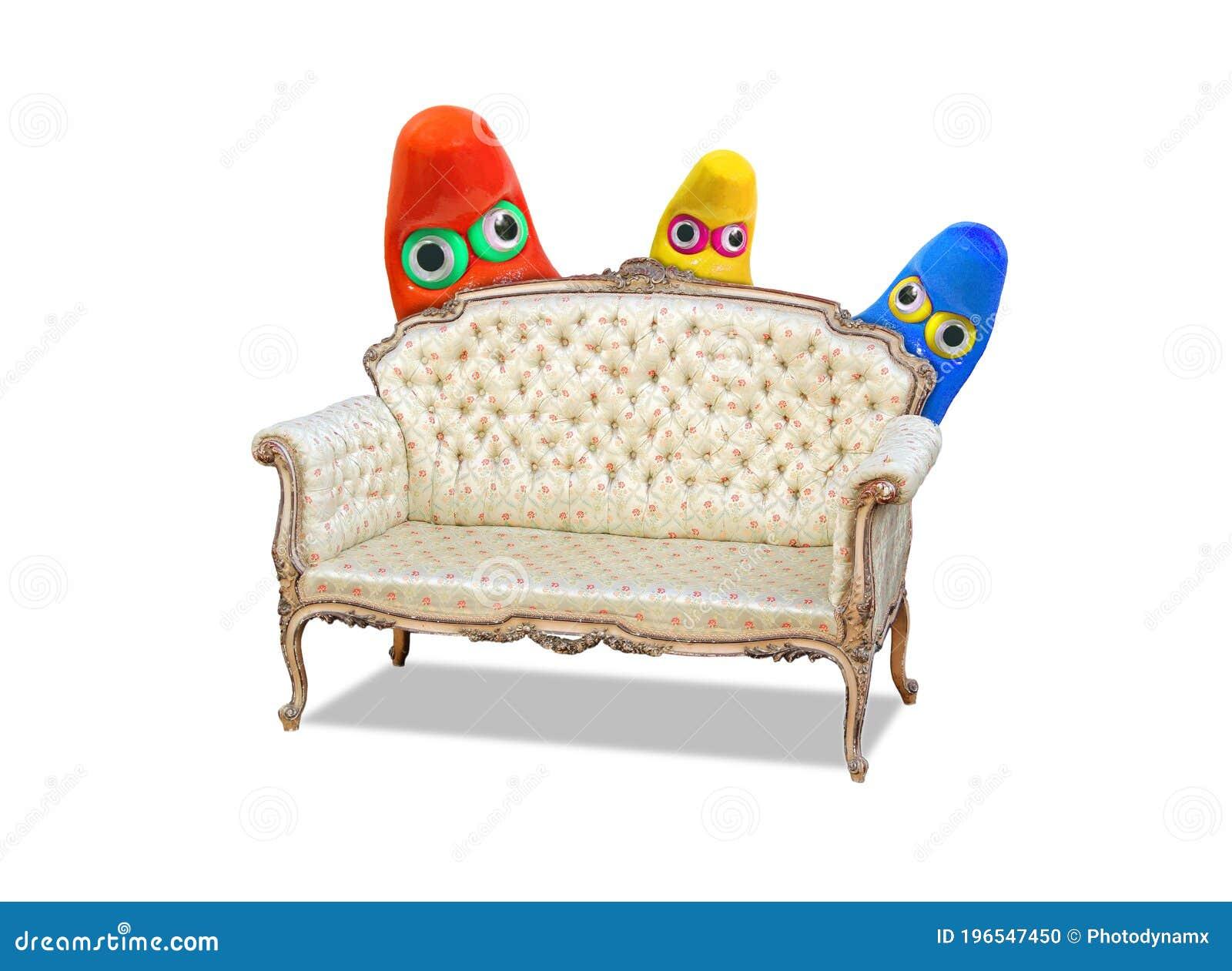 Coronavirus Covid 19 Pandemic Monsters Germs Bugs Hiding Behind Sofa Chair Settee Armchair Chaise Lounge Longue Eyes Watching Stock Photo Image Of Coronavirus Biological 196547450