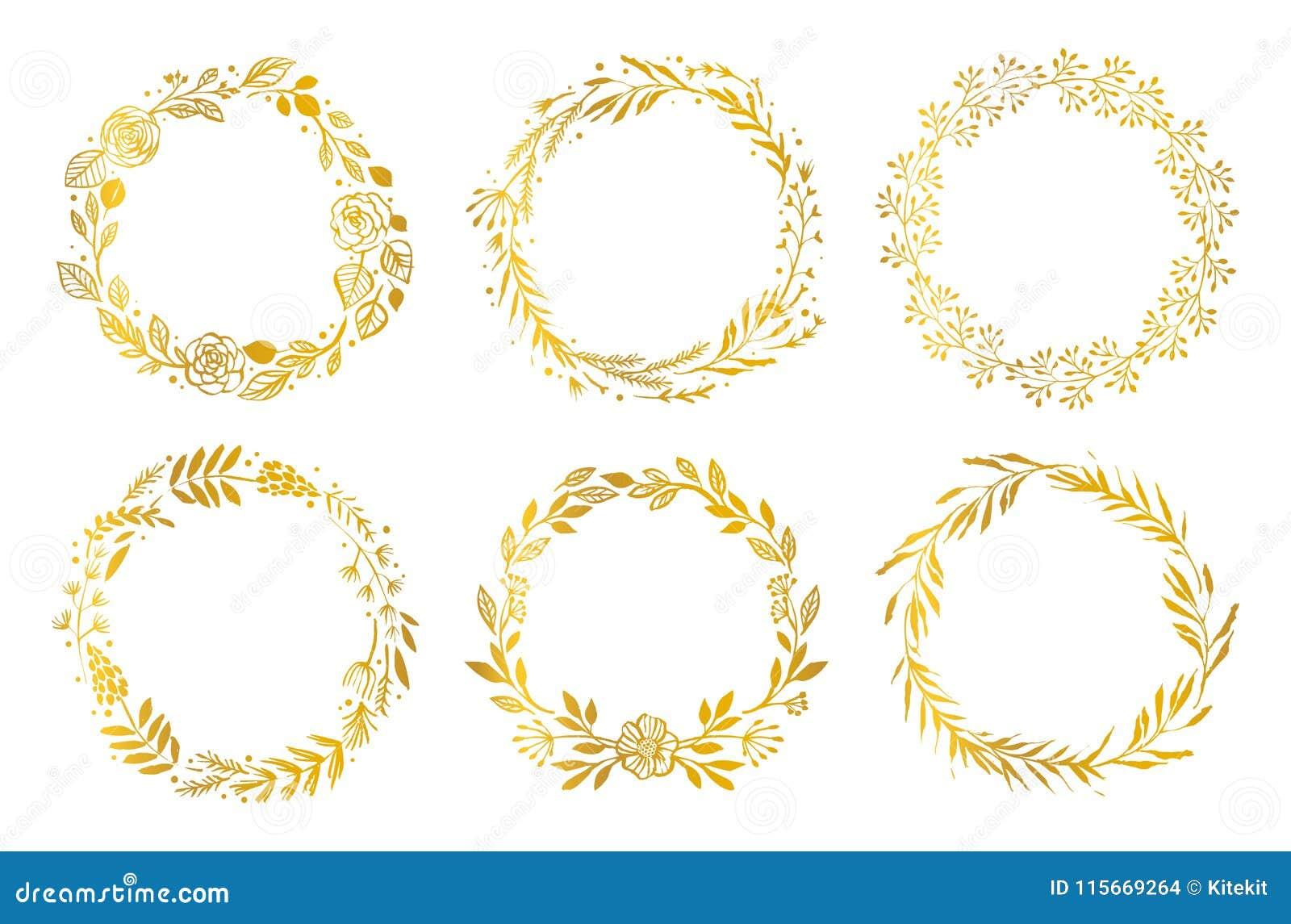 Corone del fiore dell oro Elementi disegnati a mano di disegno Reticolo floreale