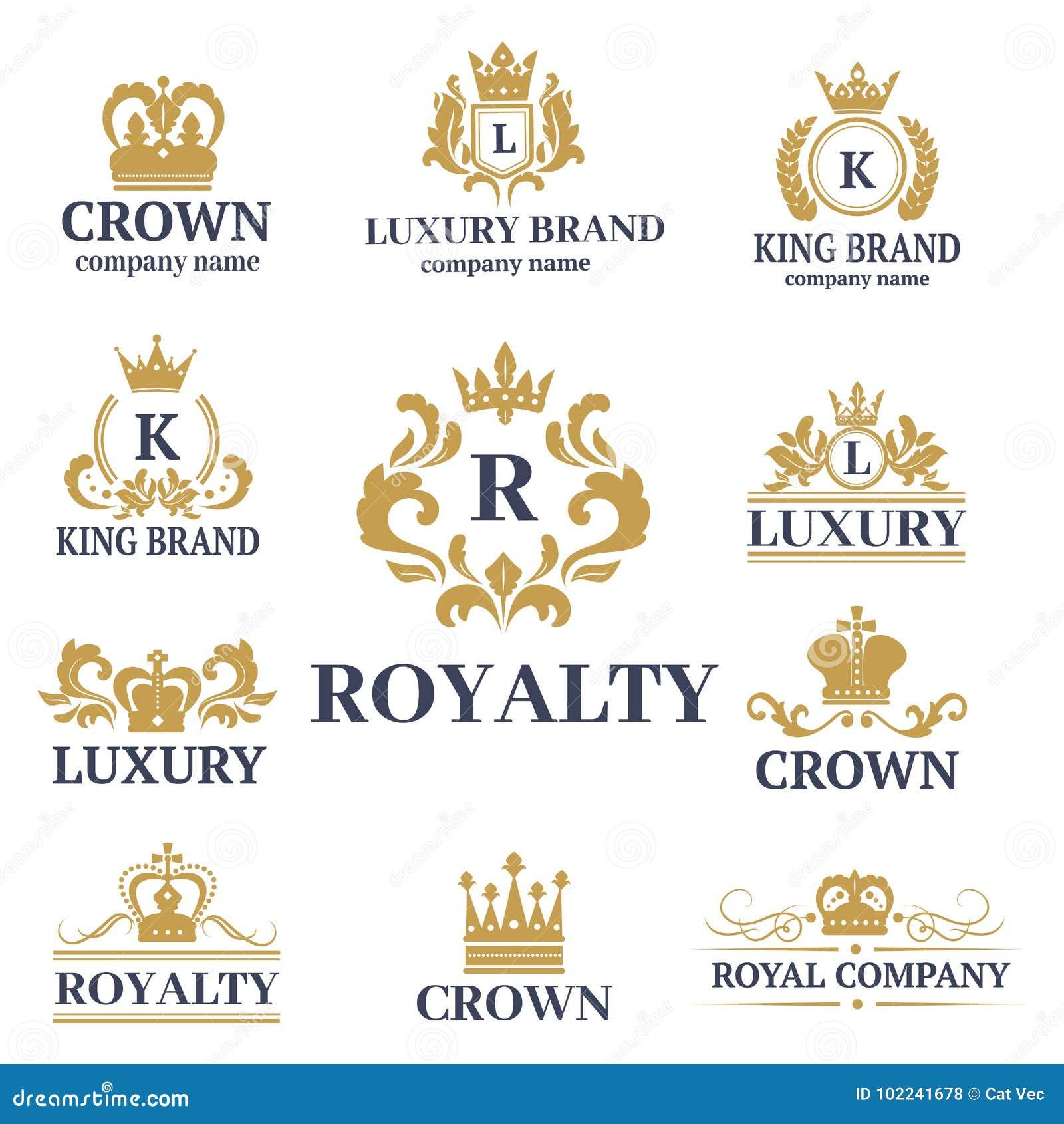 Coroni l illustrazione di lusso di vettore del kingdomsign dell ornamento araldico bianco premio d annata del distintivo di re