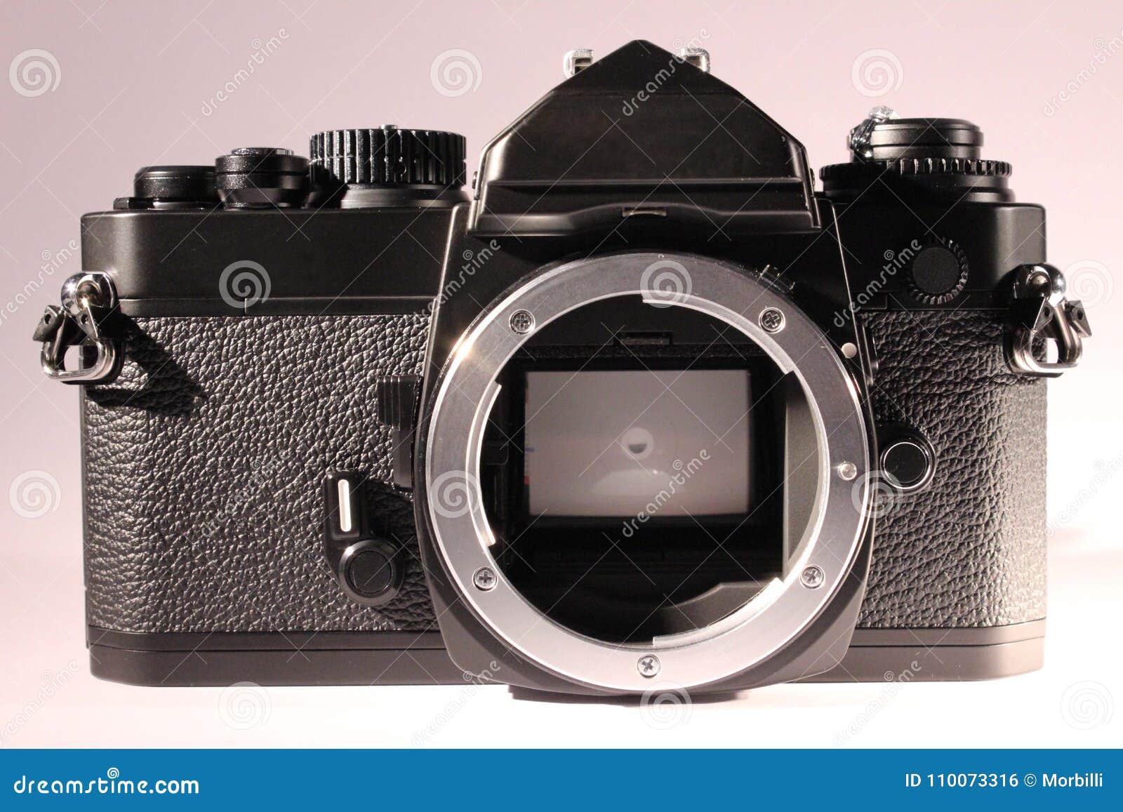 Corpo da câmera análogo sem lente, vista dianteira