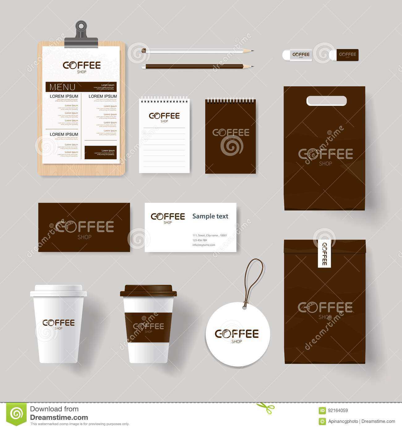 Corporate Branding Identity For Coffee Shop And Restaurant Mock Up Stock Vector Illustration Of Brown Badge 92164059