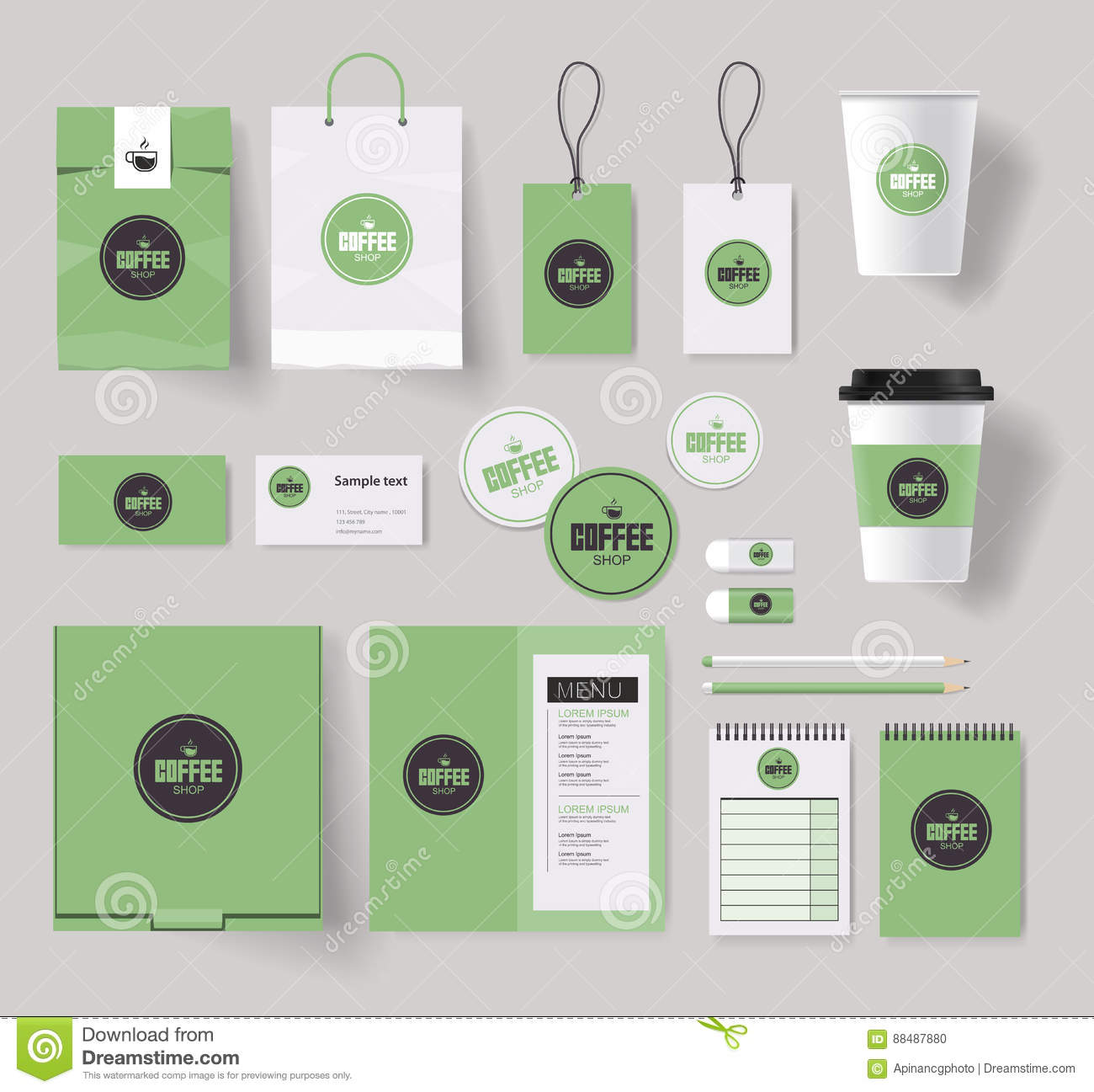 Corporate Branding Identity Mock Up Template For Coffee Shop Stock ...