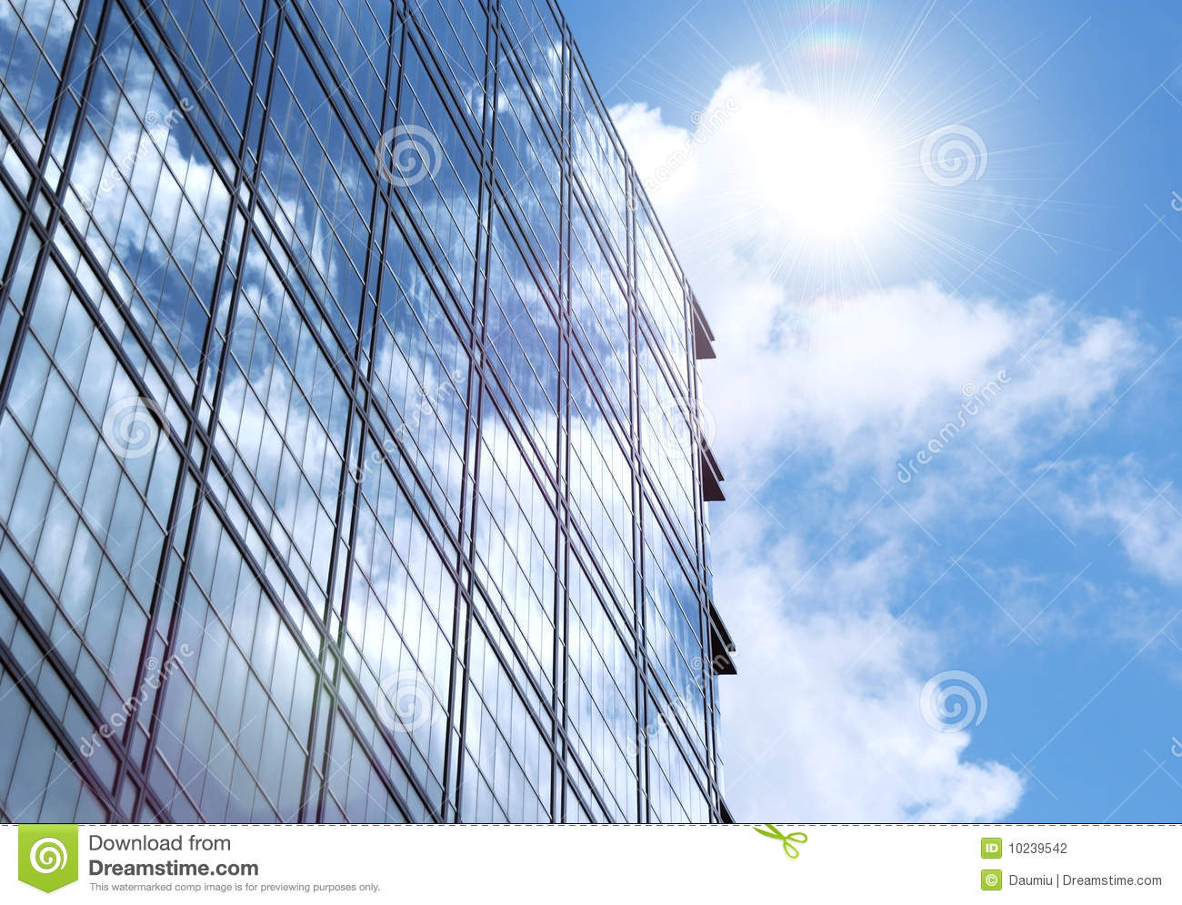 Corporate Building Glass Wall With Sun Reflection Stock ...