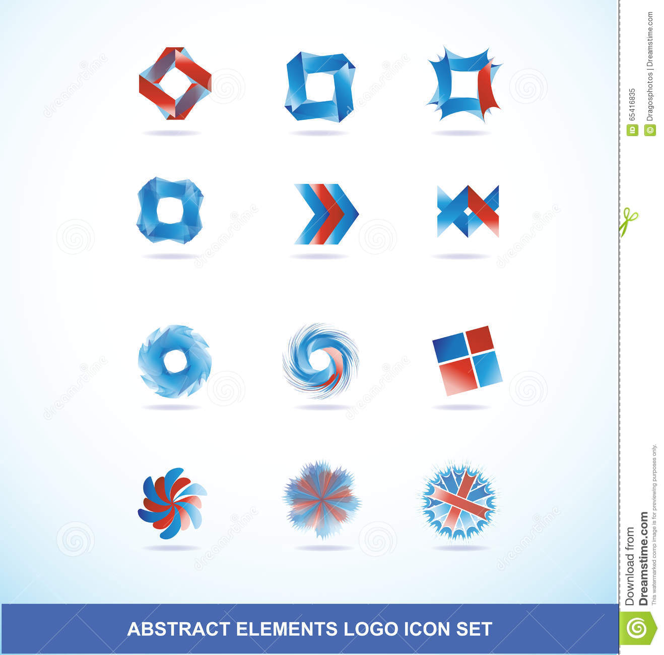 Gradient Abstract Company Logo Template: Corporate Business Blue Red Logo Elements Set Stock Vector