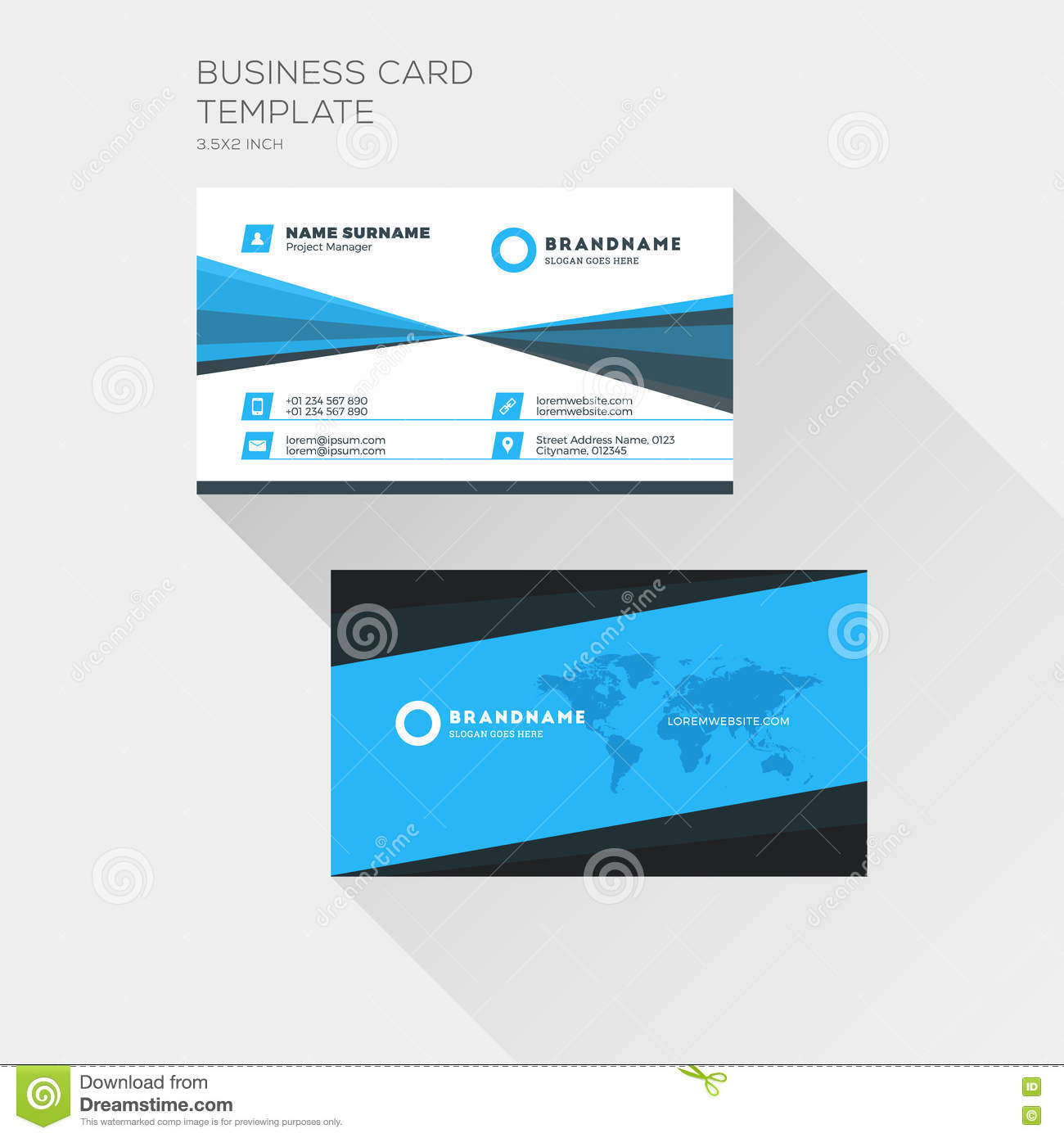 Corporate business card print template personal visiting card stock download corporate business card print template personal visiting card stock vector illustration of flat reheart Gallery
