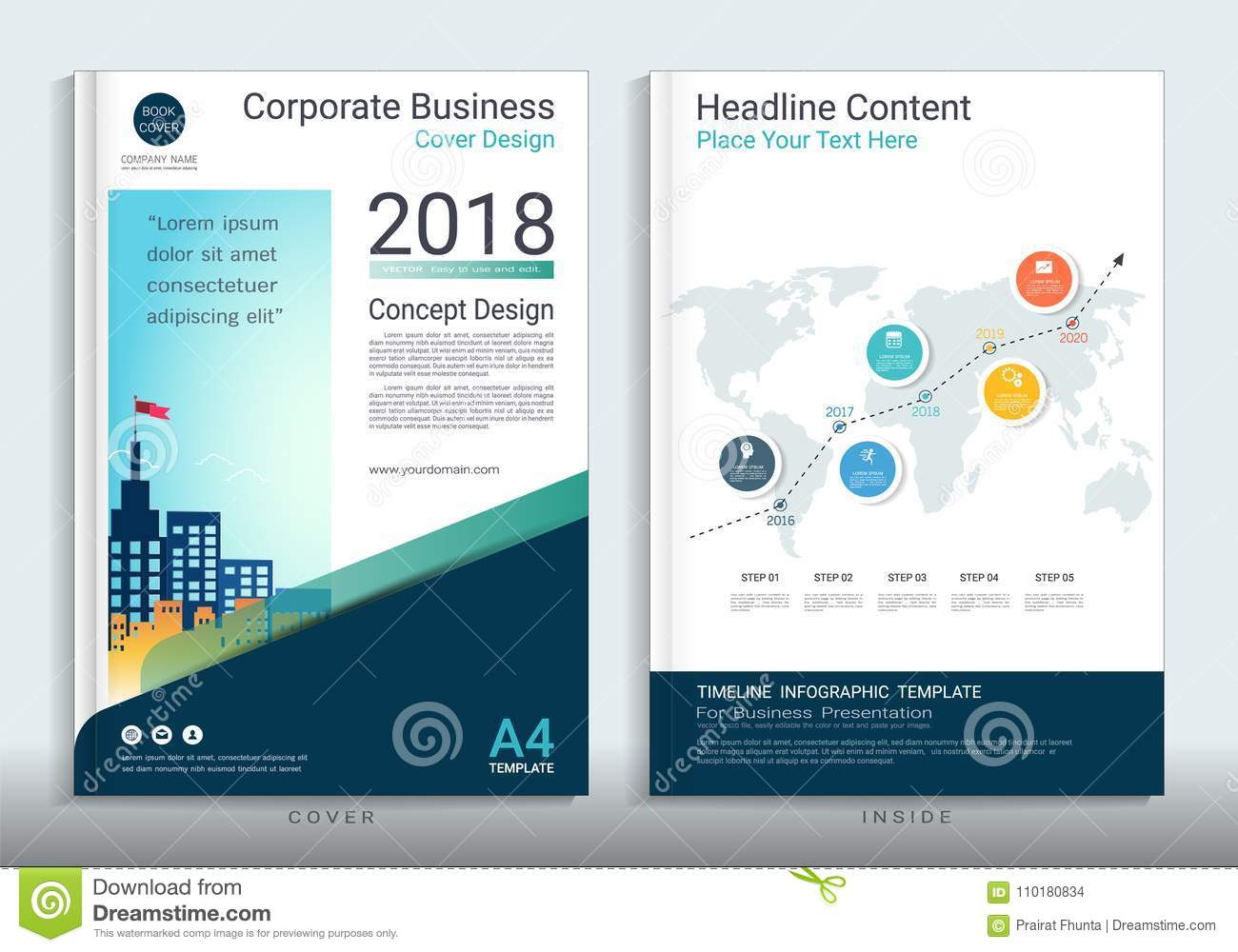 Corporate Business Cover Book Design Template With Infographic