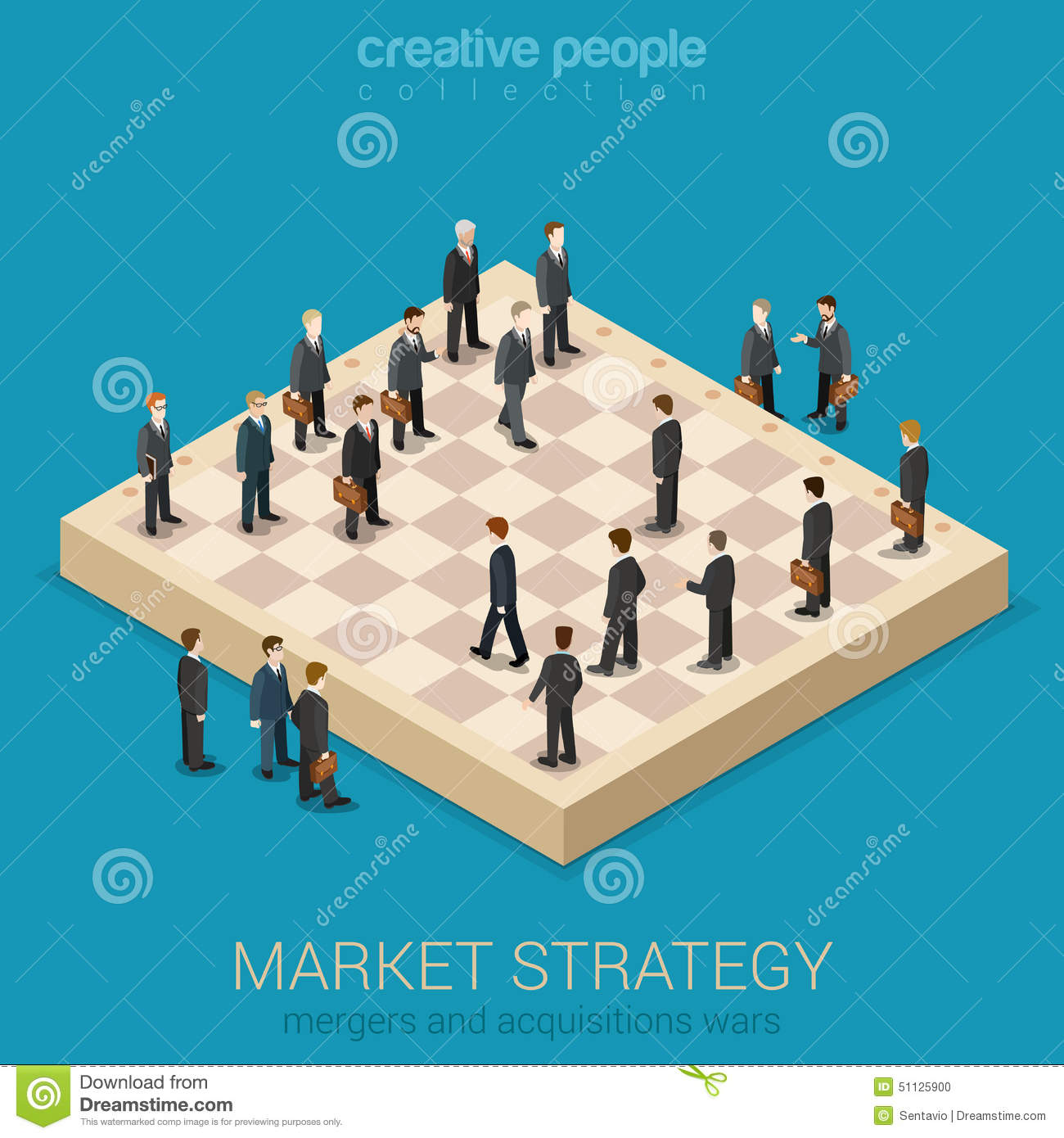 Corporate business market strategy flat style 3d isometric