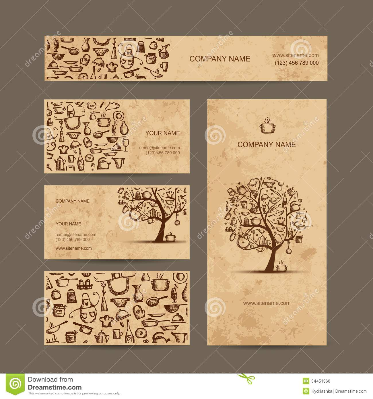 business cards design, coffee house sketch stock photo - image