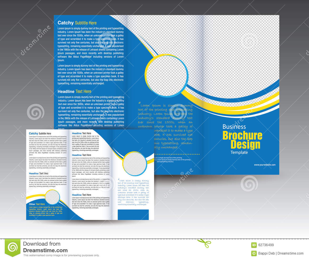 corporate business tri fold brochure template design stock
