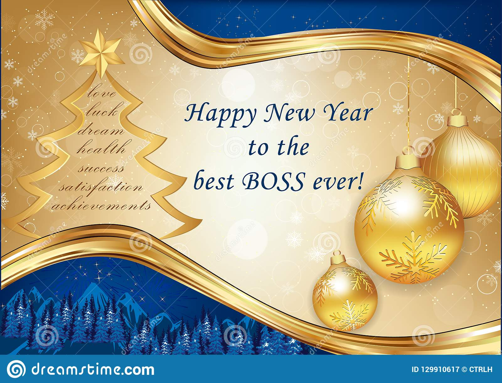 corporate christmas and new year greeting card for the boss