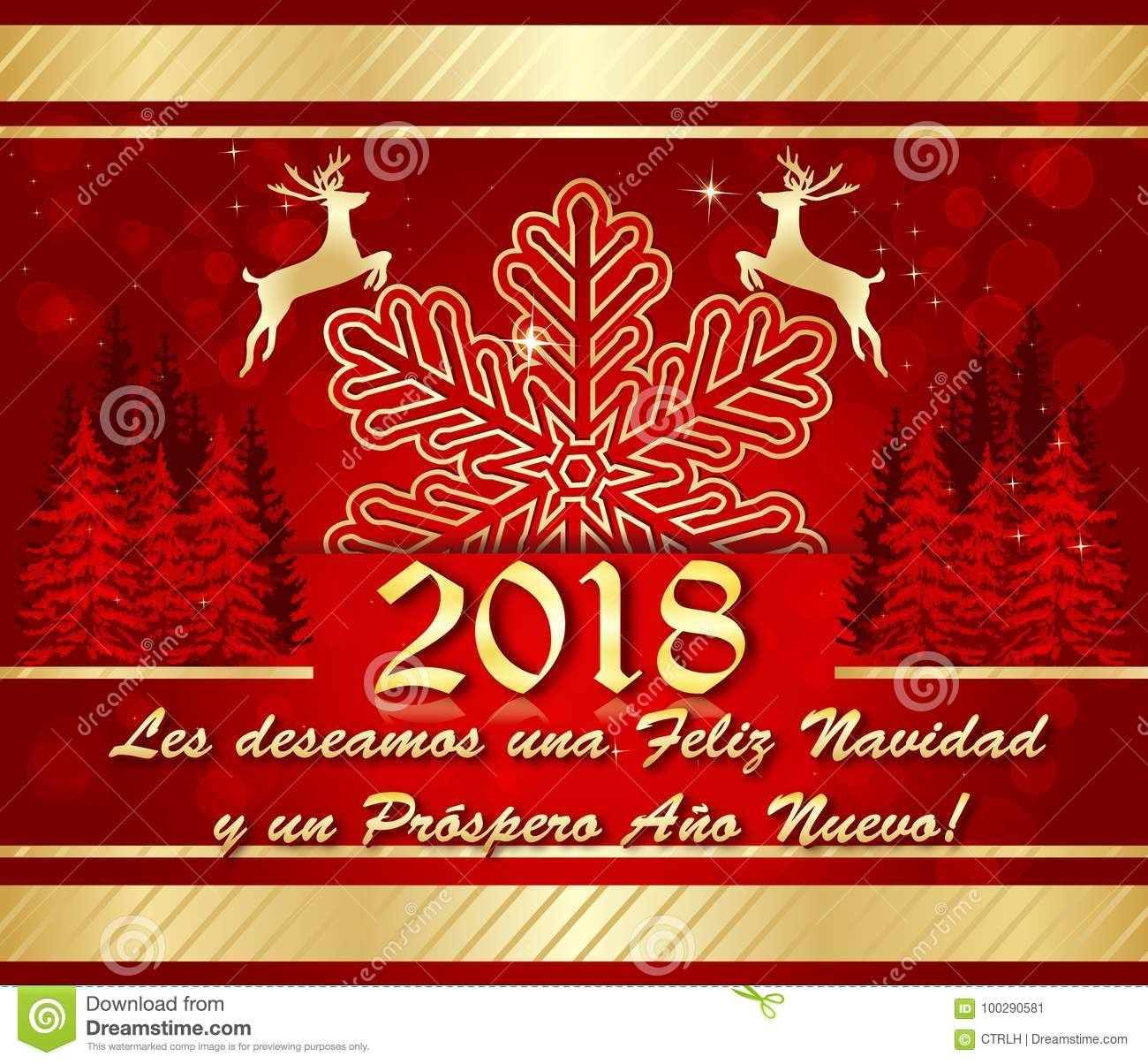 Red And Golden Corporate Winter Holiday Greeting Card In Spanish ...