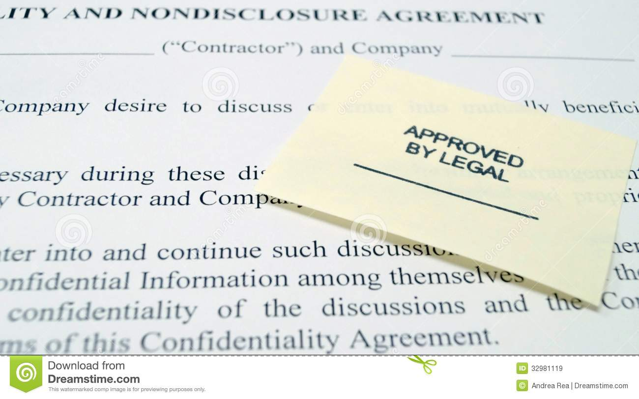 Legal Non Disclosure Agreement Royalty Free Stock Images