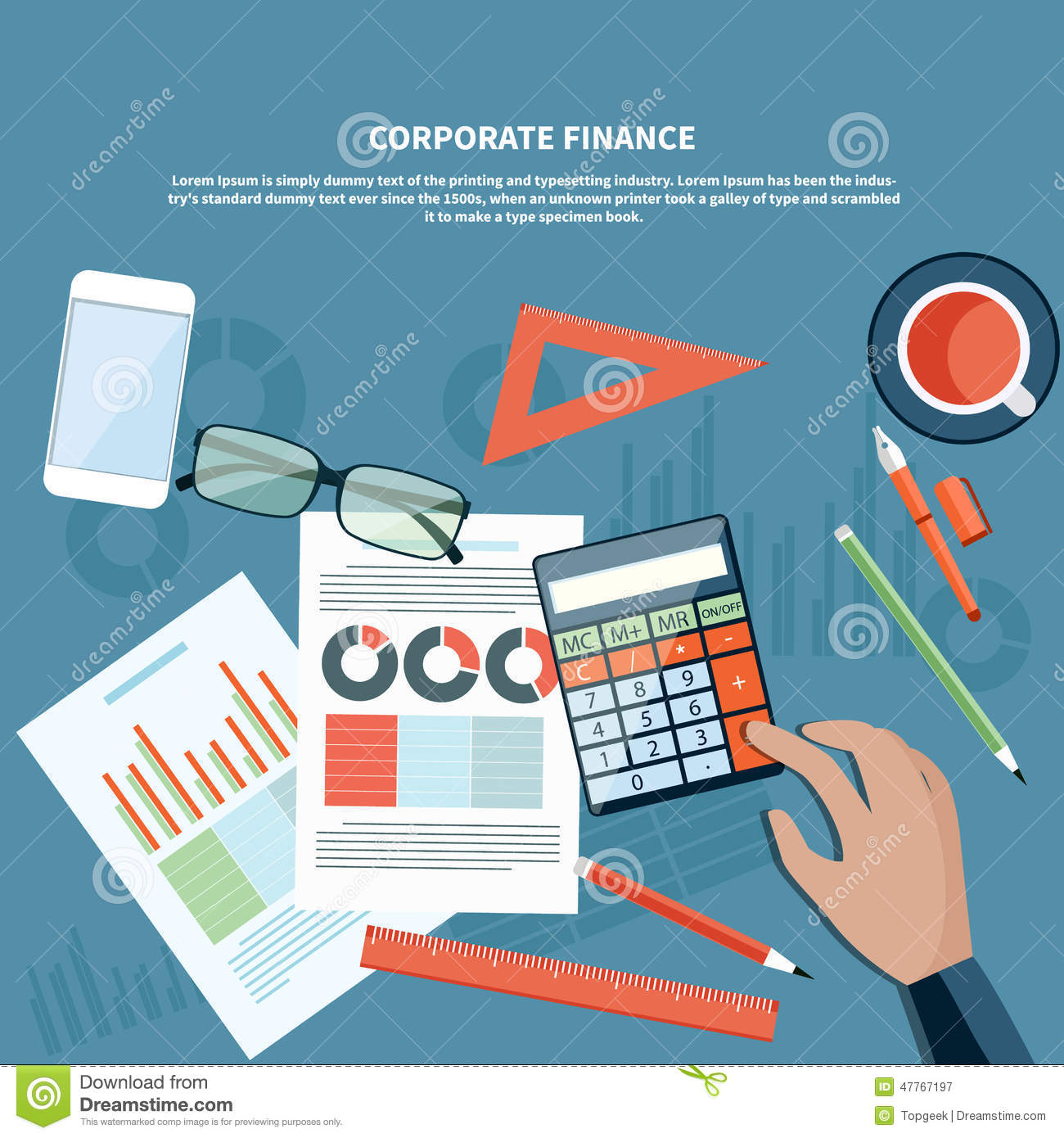 Finance: Corporate Finance, Business Management Concept Stock