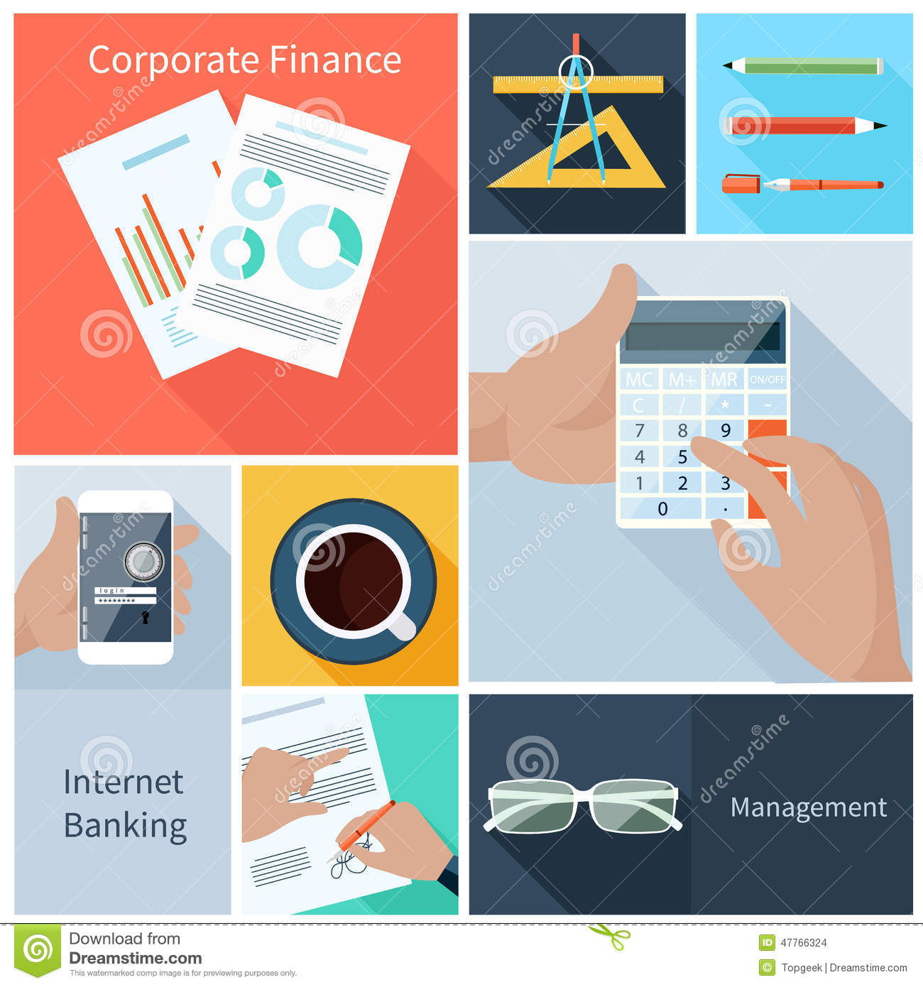 Corporate Finance: Corporate Finance, Web Banking, Management Concept Stock