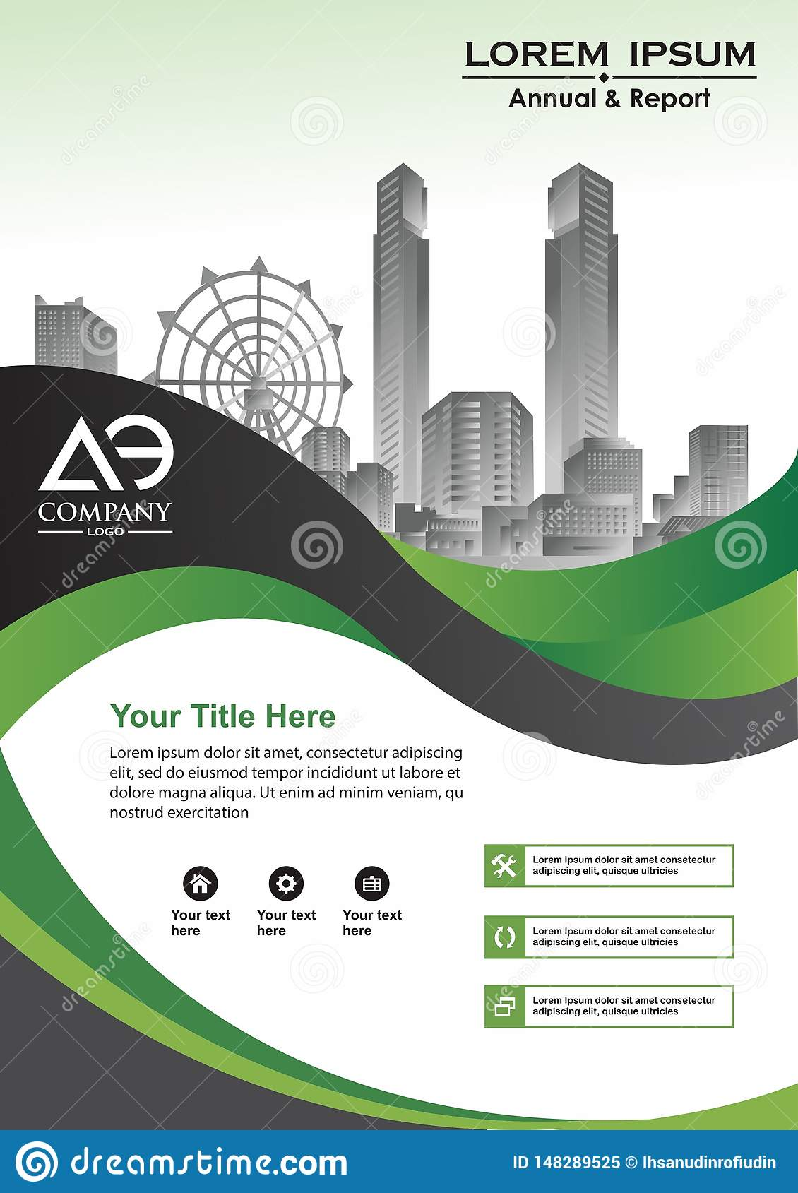 Corporate flyer, layout template. with elements for picture.