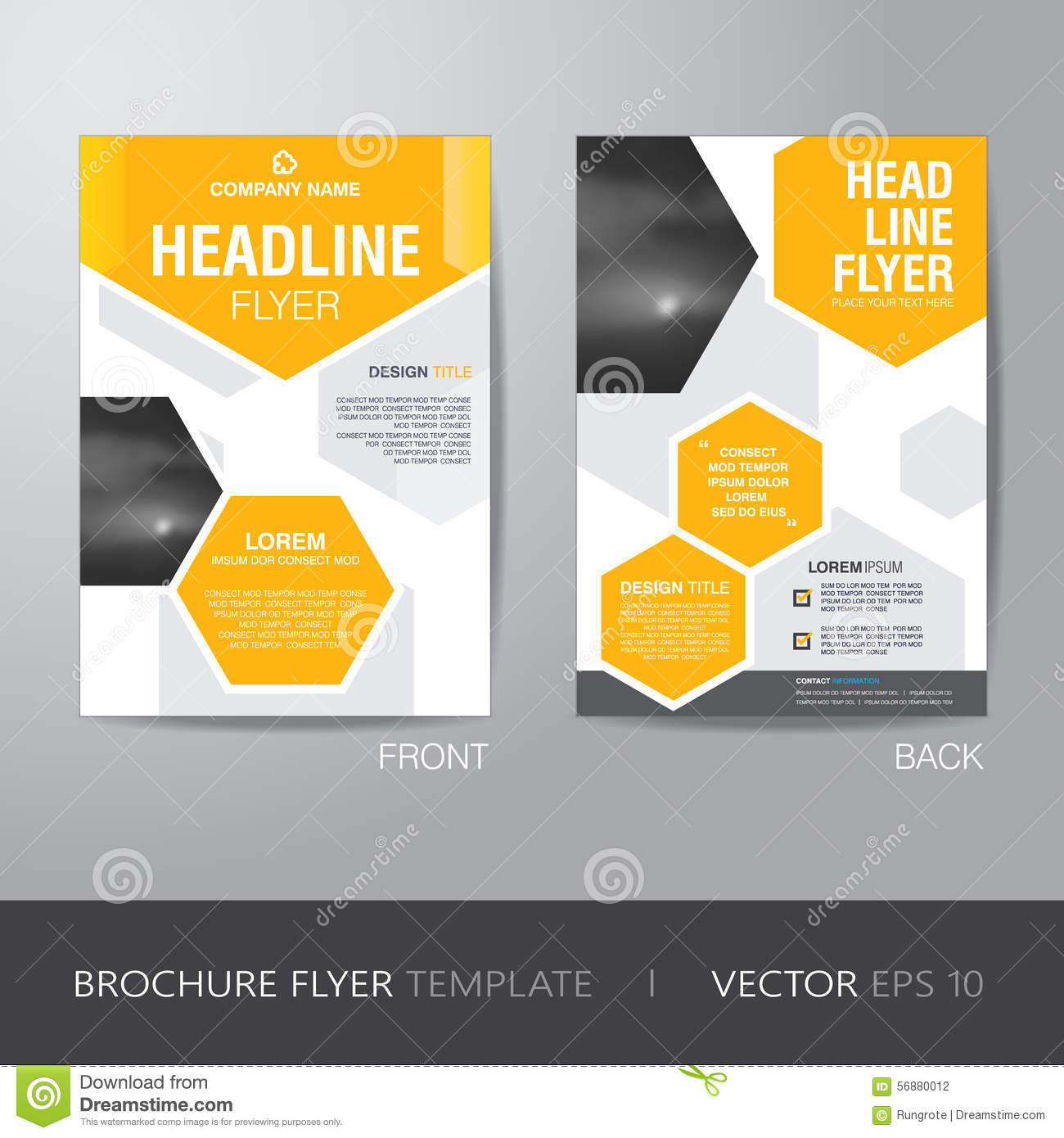 Corporate hexagonal brochure flyer design layout template for Brochure size template