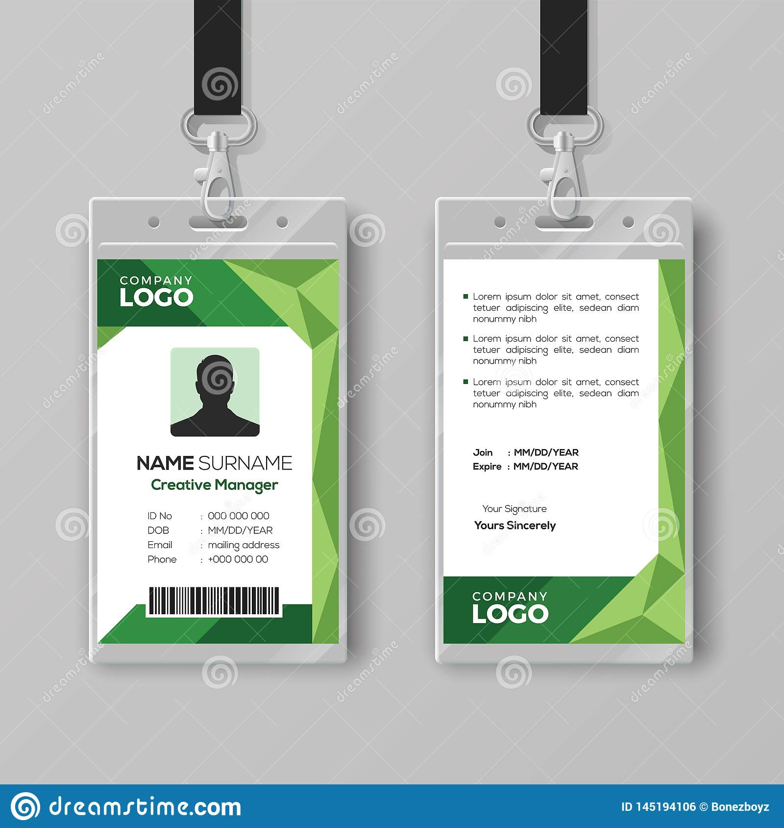 Corporate ID Card Template With Abstract Green Background Stock Within Template For Id Card Free Download