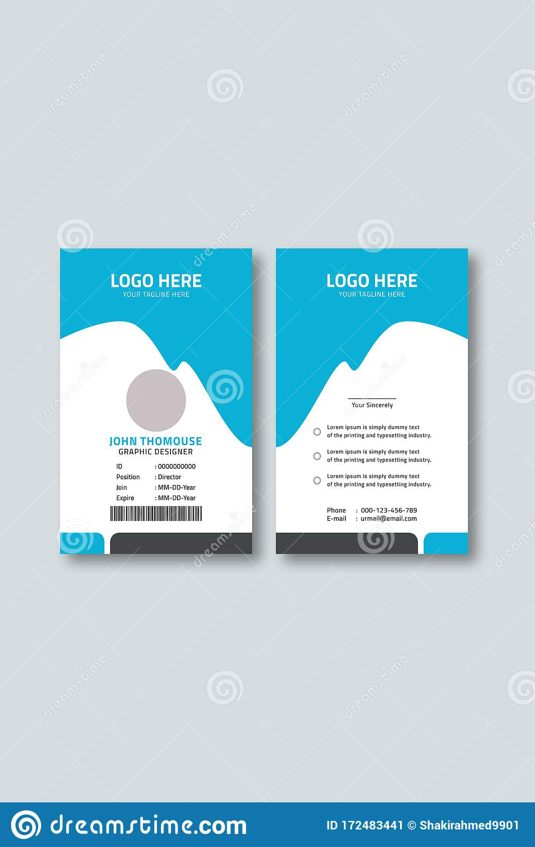 Employee Id Card Template Free Download from thumbs.dreamstime.com