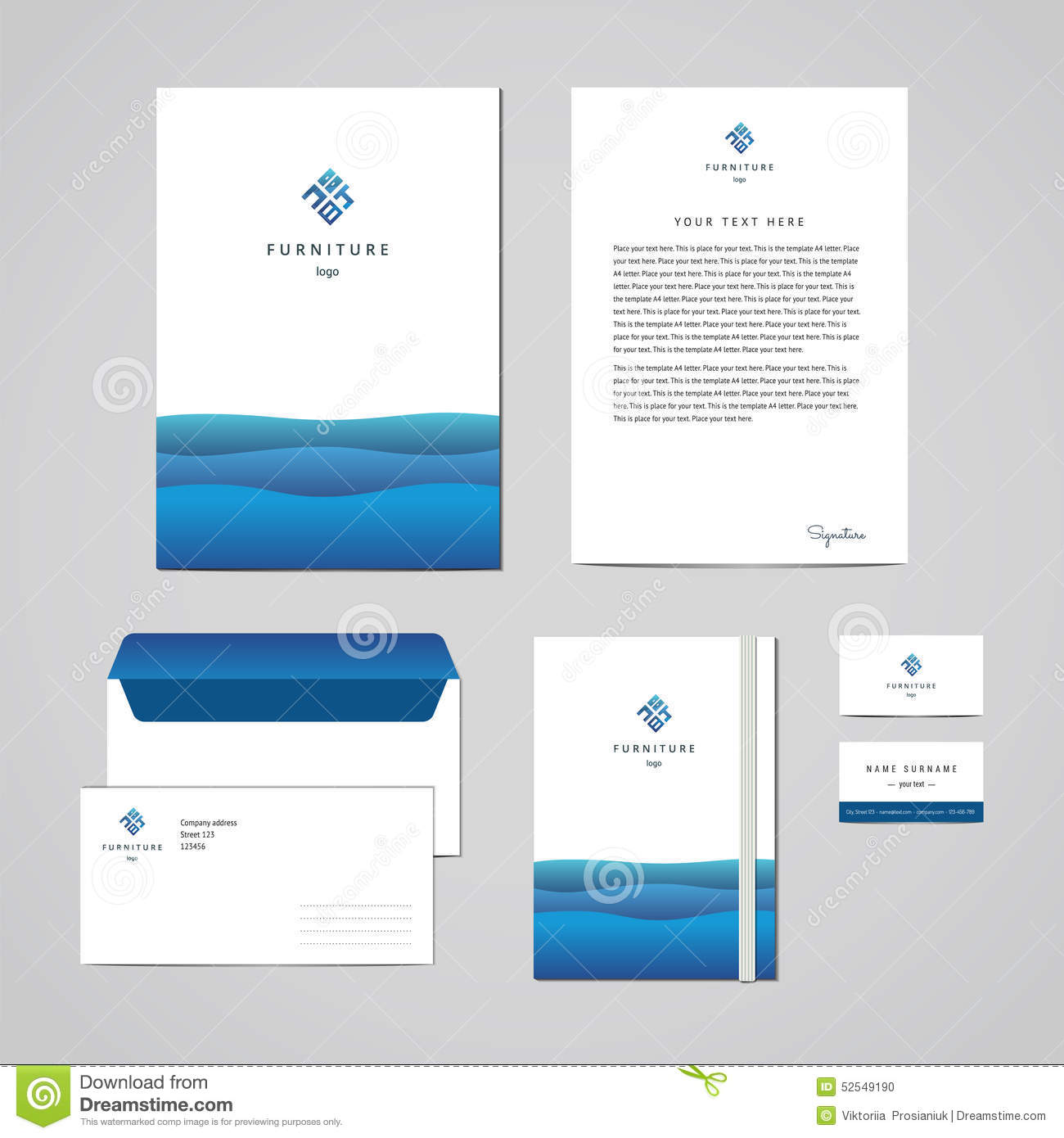 Letterhead Envelopes: Corporate Identity Furniture Company Blue Design Template