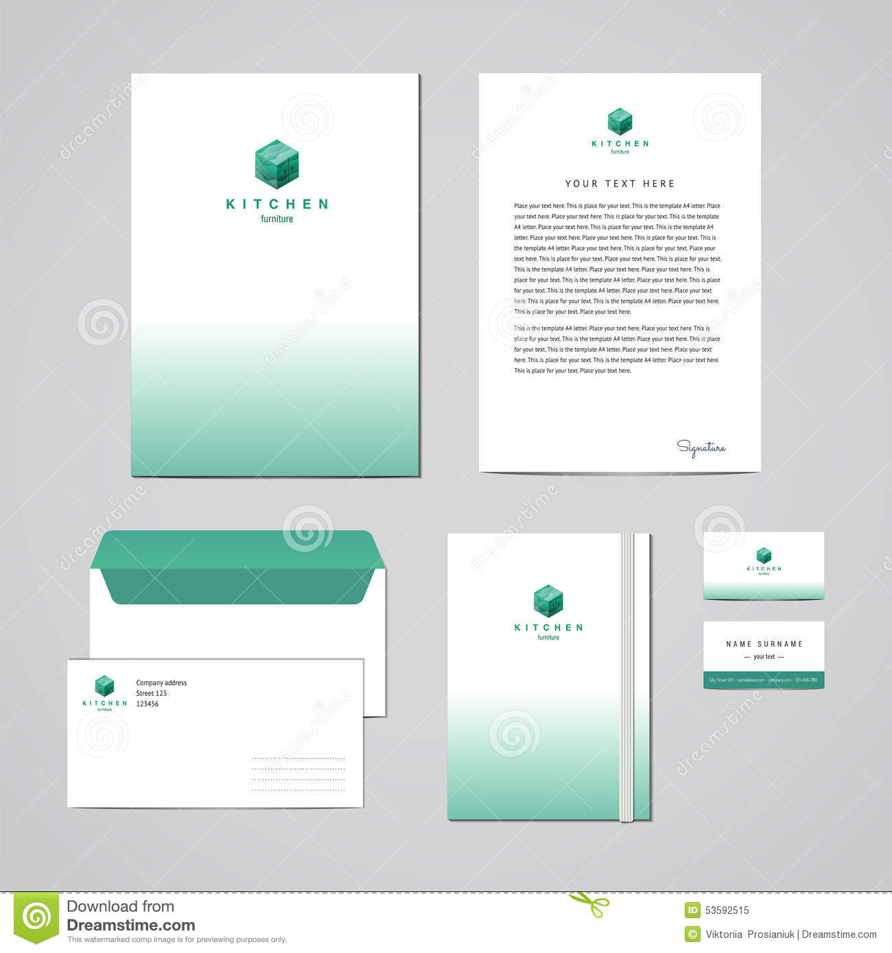 Letterhead Envelopes: Corporate Identity Furniture Company Turquoise Design