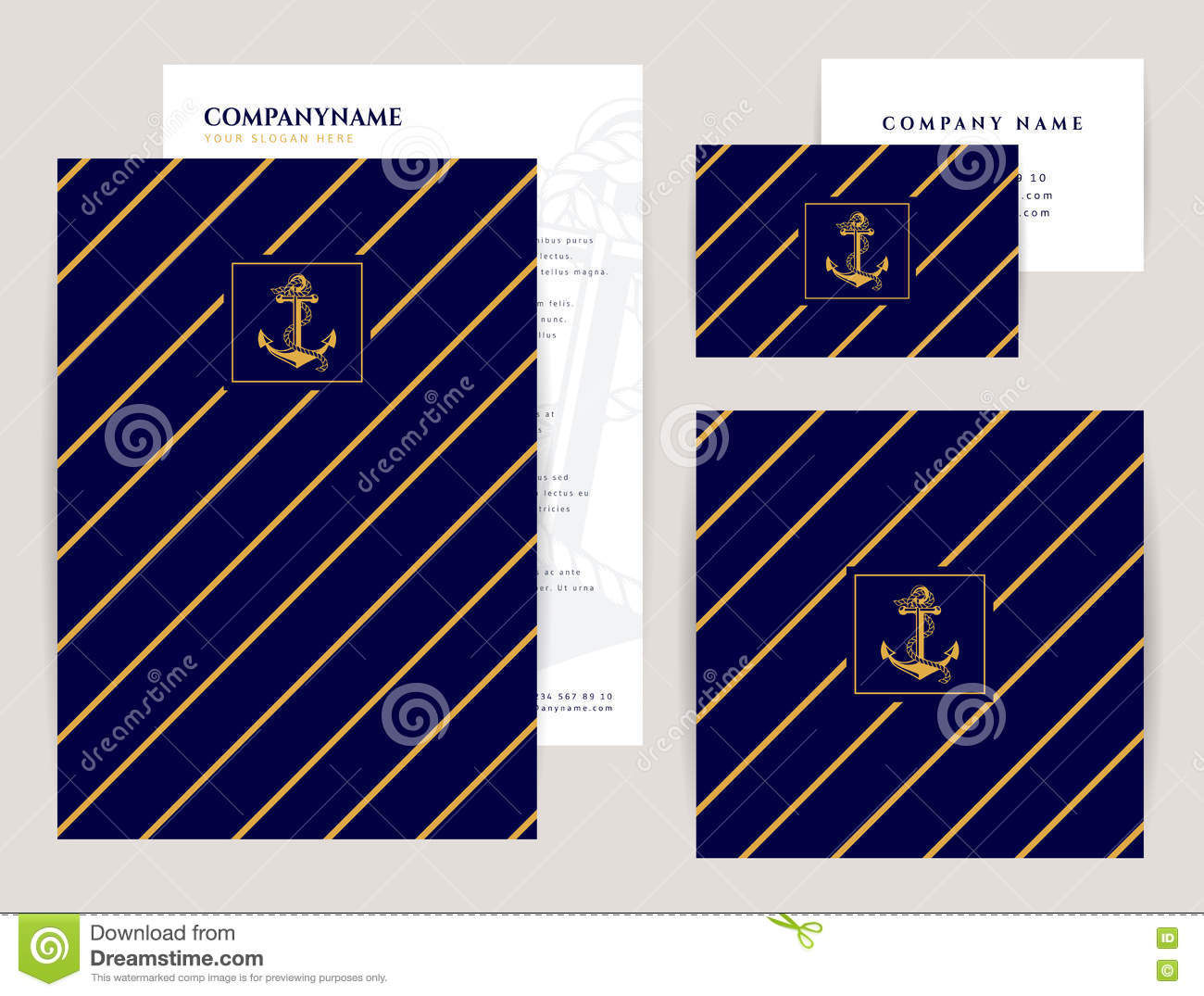 nautical and sea cruise themes flyer square banner and business card elegant branding design vector collection