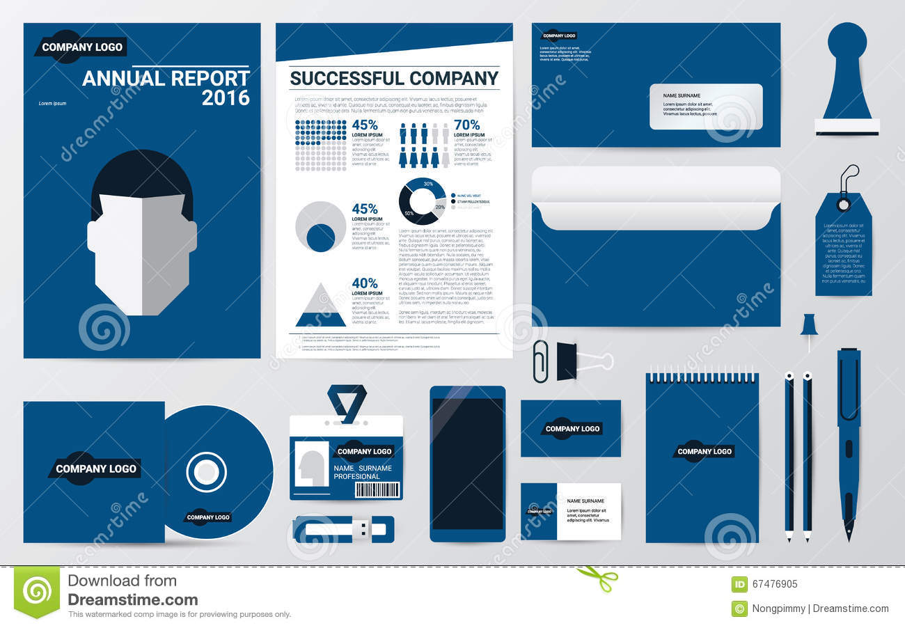 Corporate Identity And Stationary In Blue Theme Template Stock