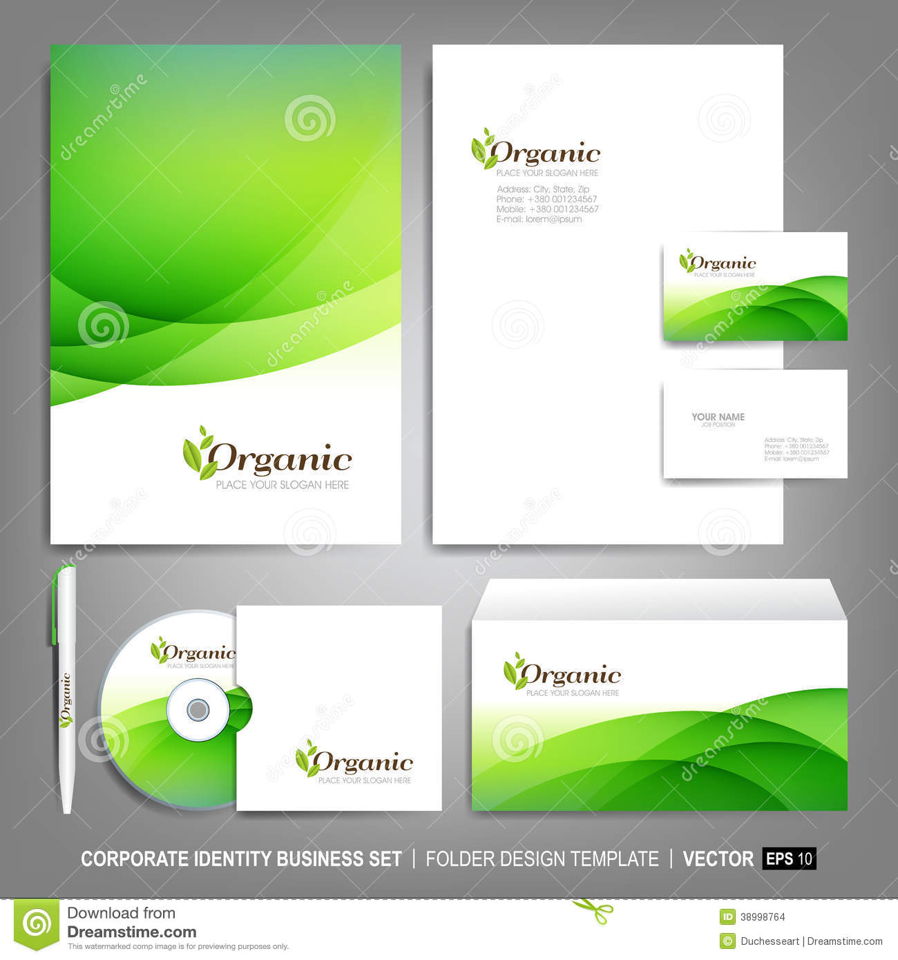 Blank Stationery And Corporate Identity Template Consist: Corporate Identity Template For Business Artworks Stock