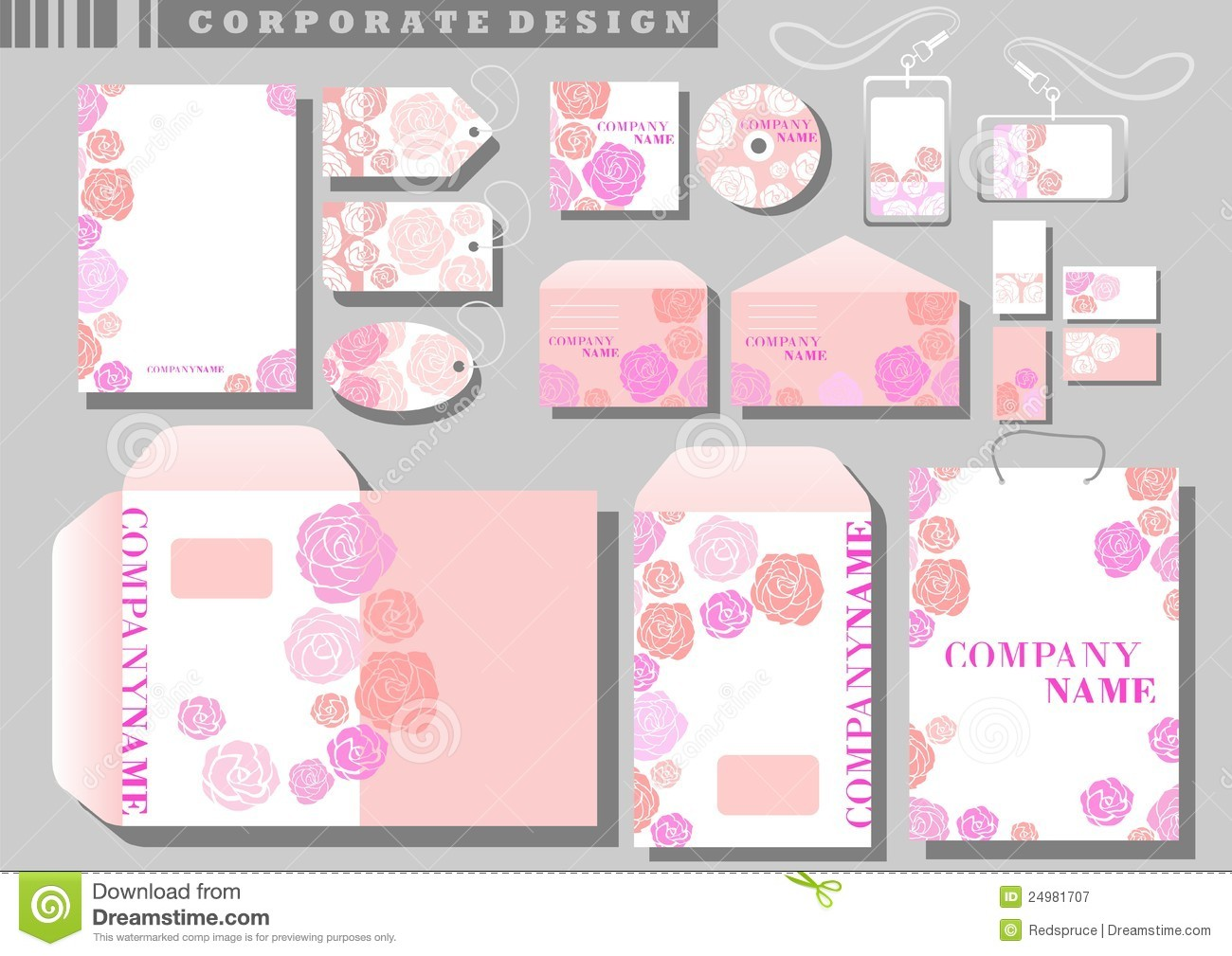 corporate identity template pink roses royalty free stock