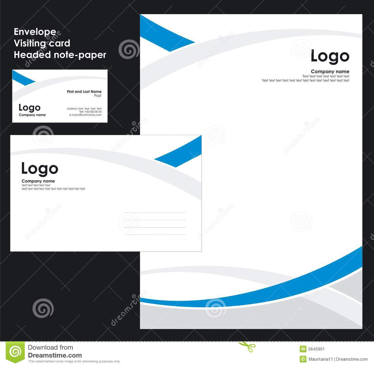 Custom Card Template template name card free download : Corporate Identity Template Vector (envelope, visiting-card, headed ...