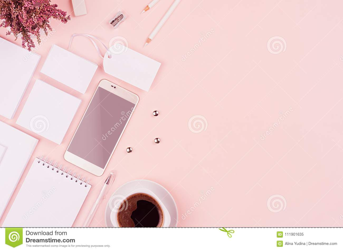 Corporate identity template with white stationery set, heather flowers, coffee, phone on soft pastel pink background.