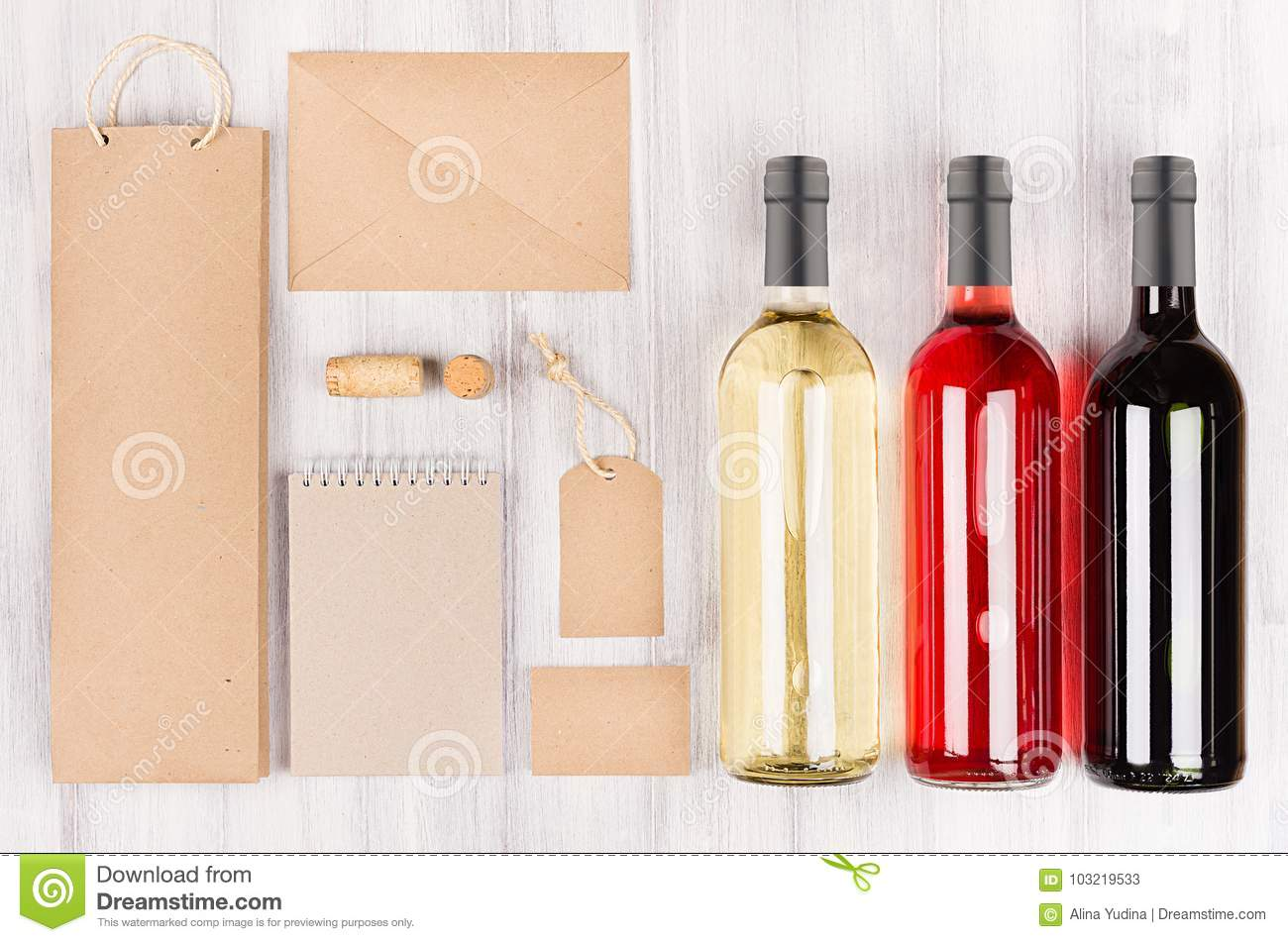 Corporate identity template for wine industry, blank brown kraft packaging, stationery, merchandise set with bottles different wi