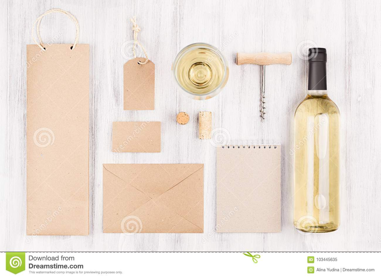 Corporate Identity Template For Wine Industry With Bottle White Wine