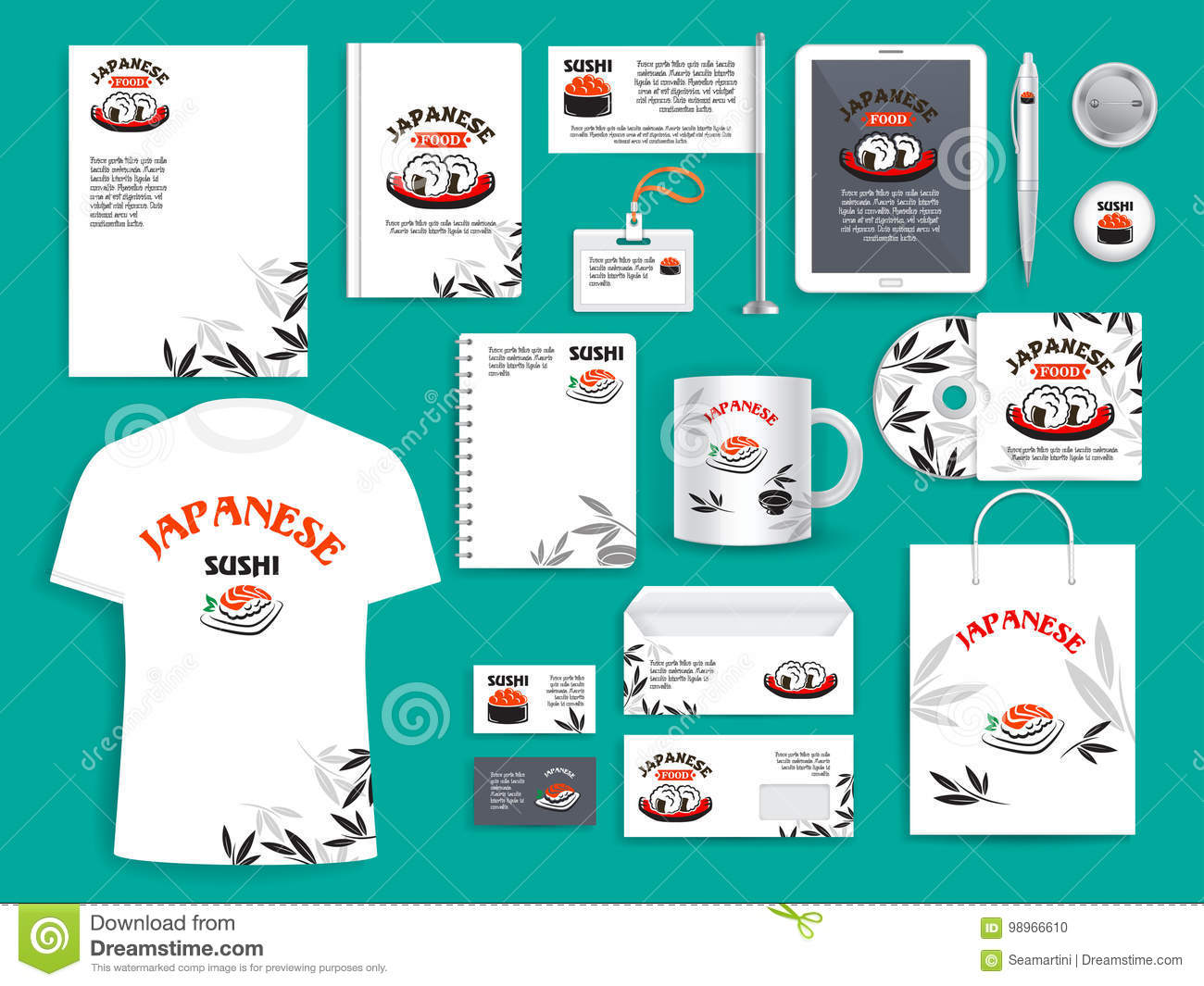 Corporate Identity Vector Items For Japanese Sushi Stock Vector