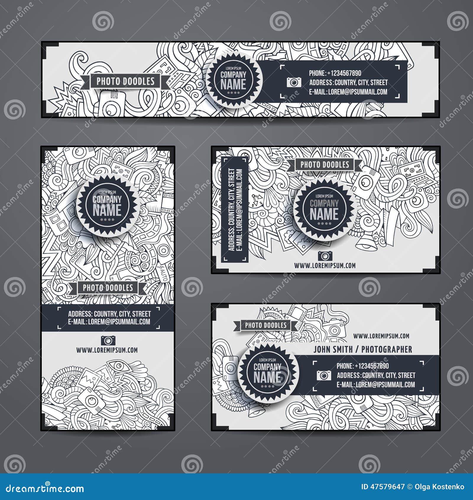 Corporate Identity Vector Templates Doodles Photo Stock