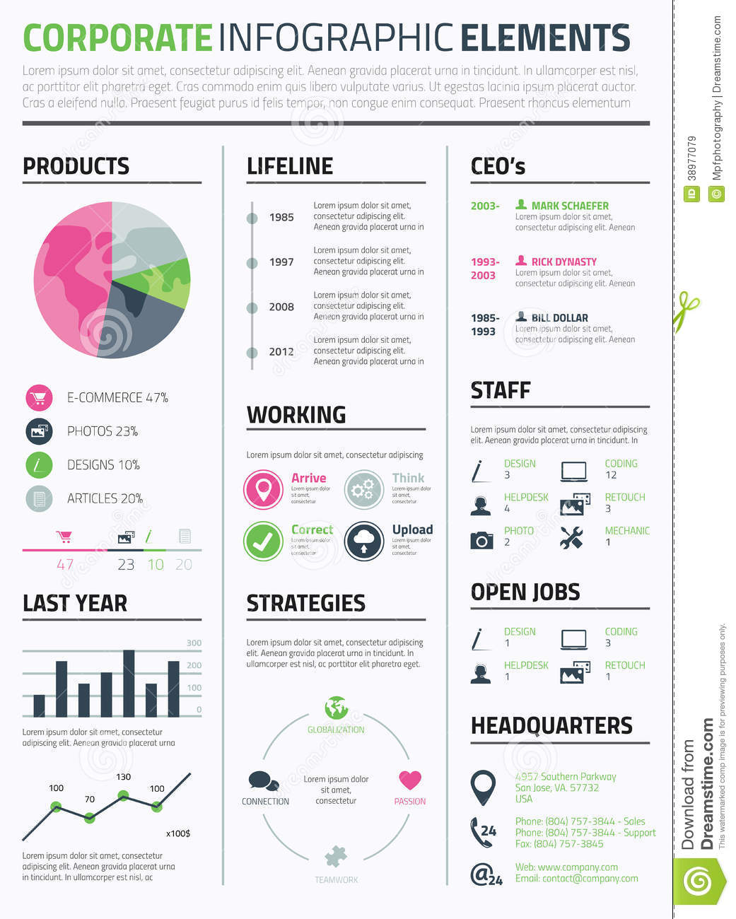 corporate infographic resume elements template stock