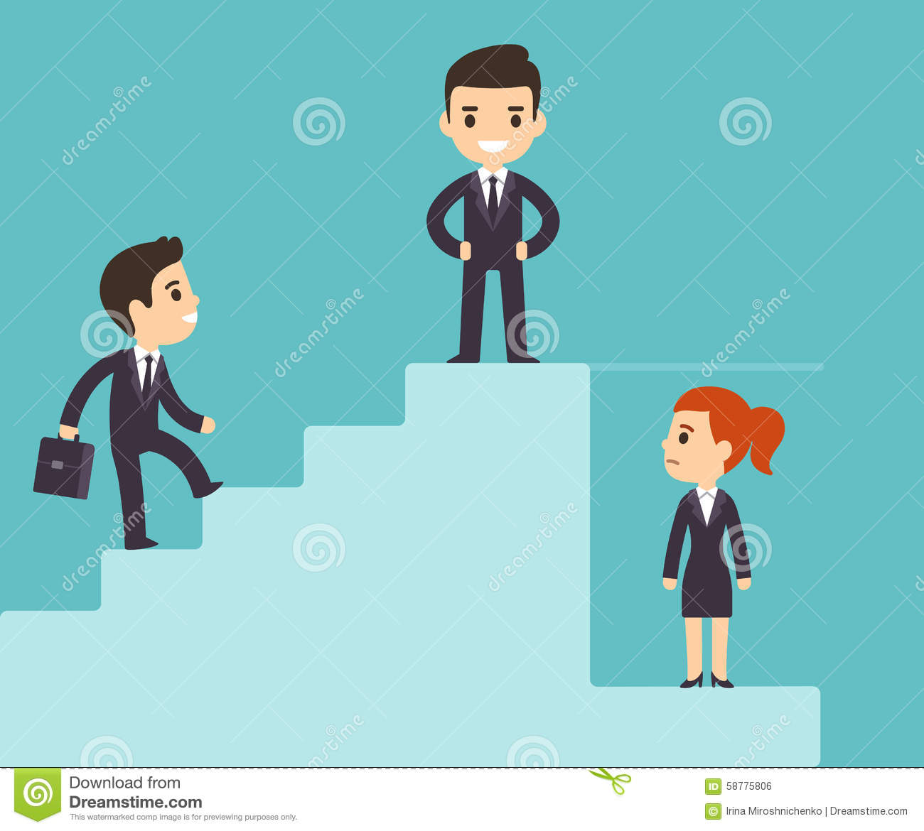Corporate Ladder And Glass Ceiling Stock Vector Image