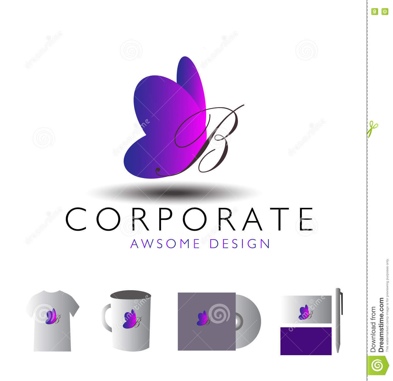 Logotype butterfly and letter b in different colour variants on a - Butterfly Corporate Letter Logo