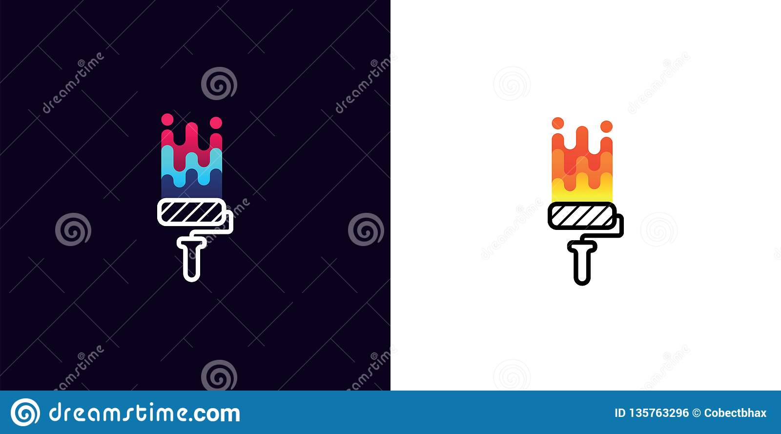 Corporate Logo Brush Roller With Multicolored Paint On White And Black Background Idea For Company Style Label Or Stock Vector Illustration Of Handyman Decorative 135763296