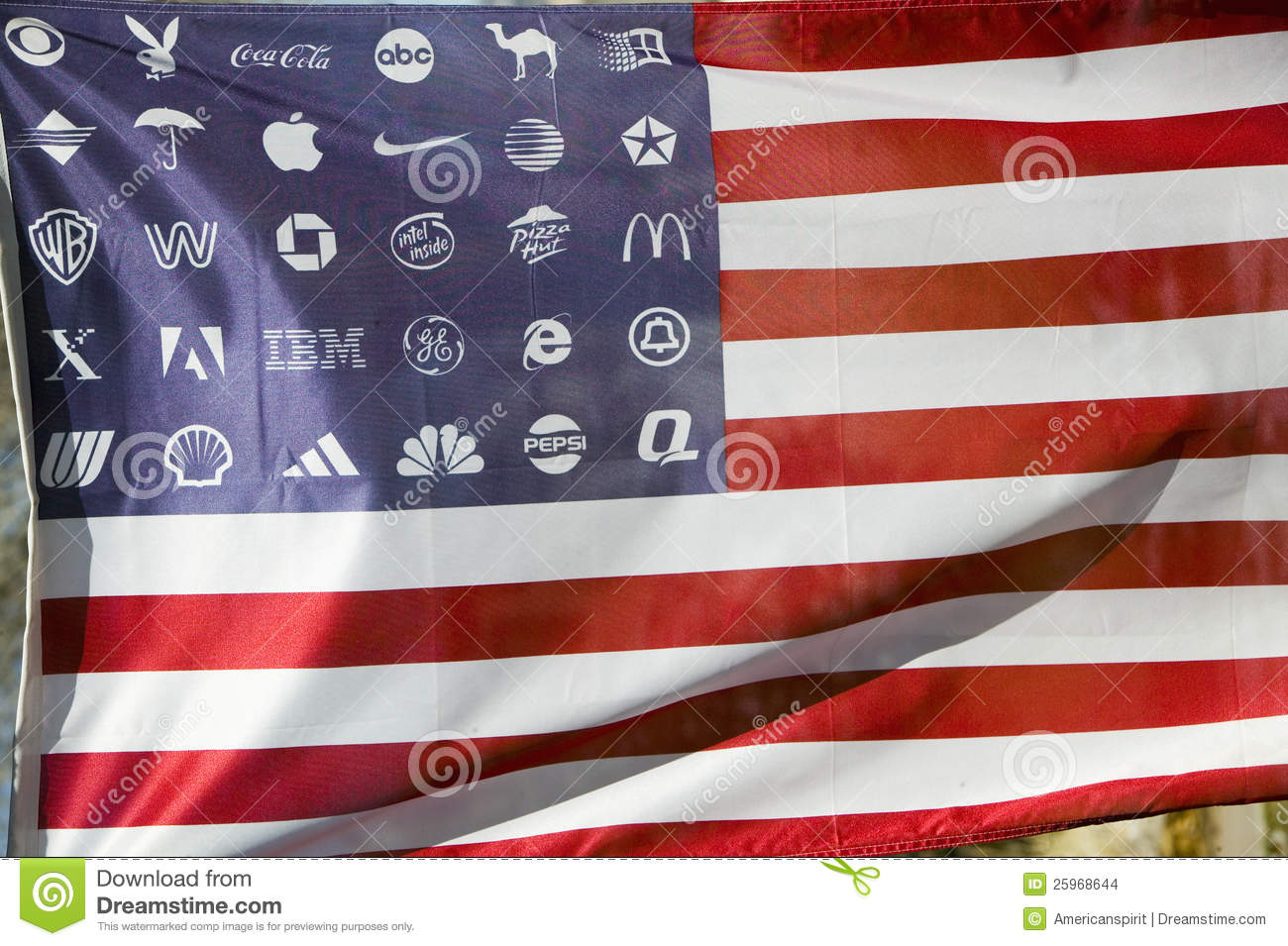 Corporate logos in place of stars on the American