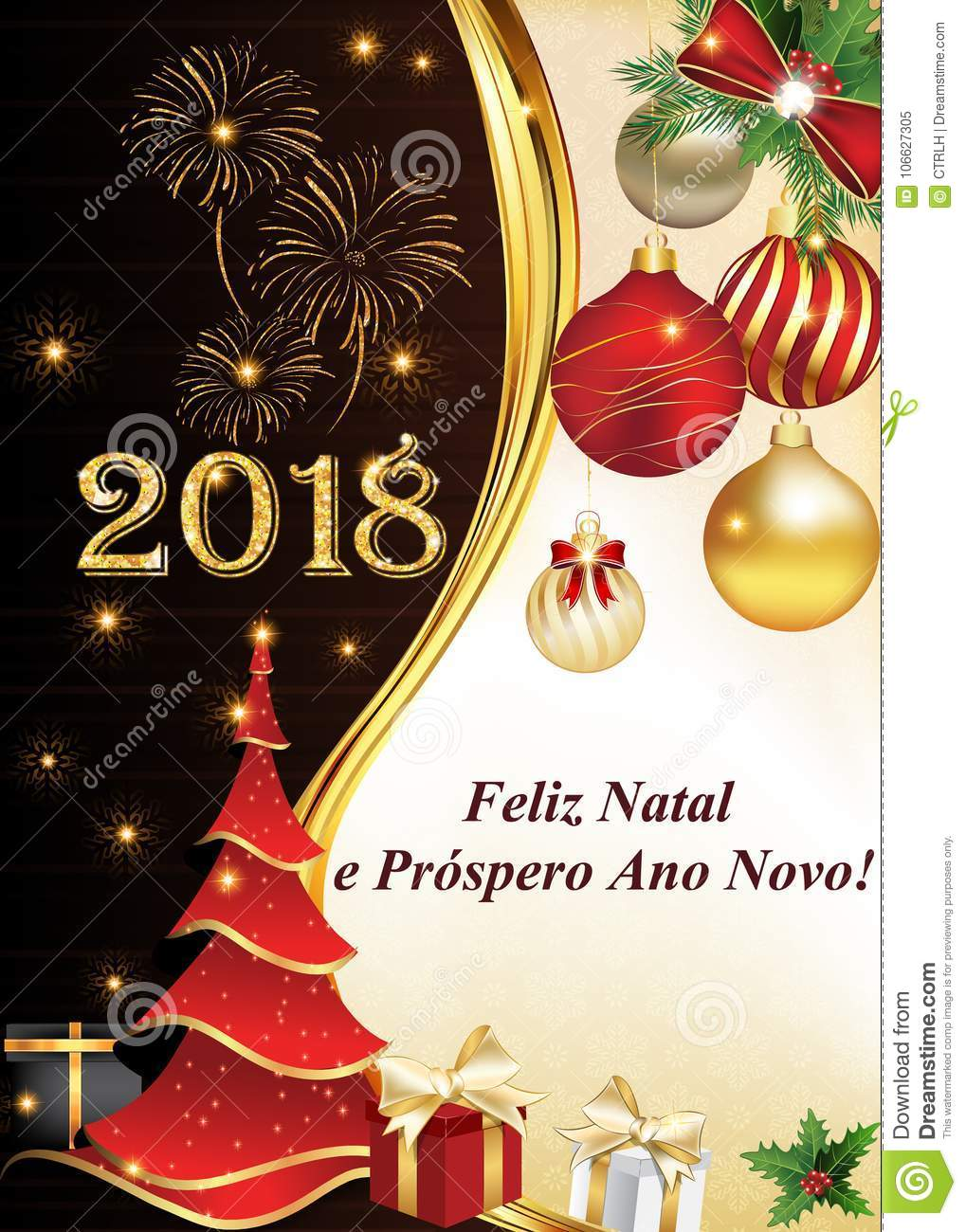 corporate new year 2018 greeting card designed for portuguese speaking clients