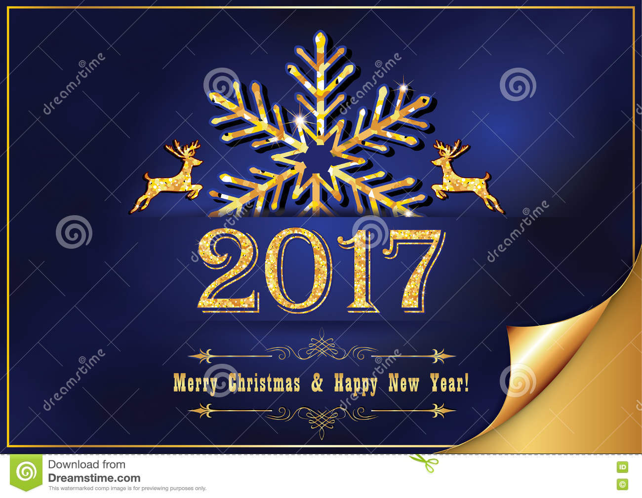 Corporate New Year Greeting Card For Print Stock Image - Image ...